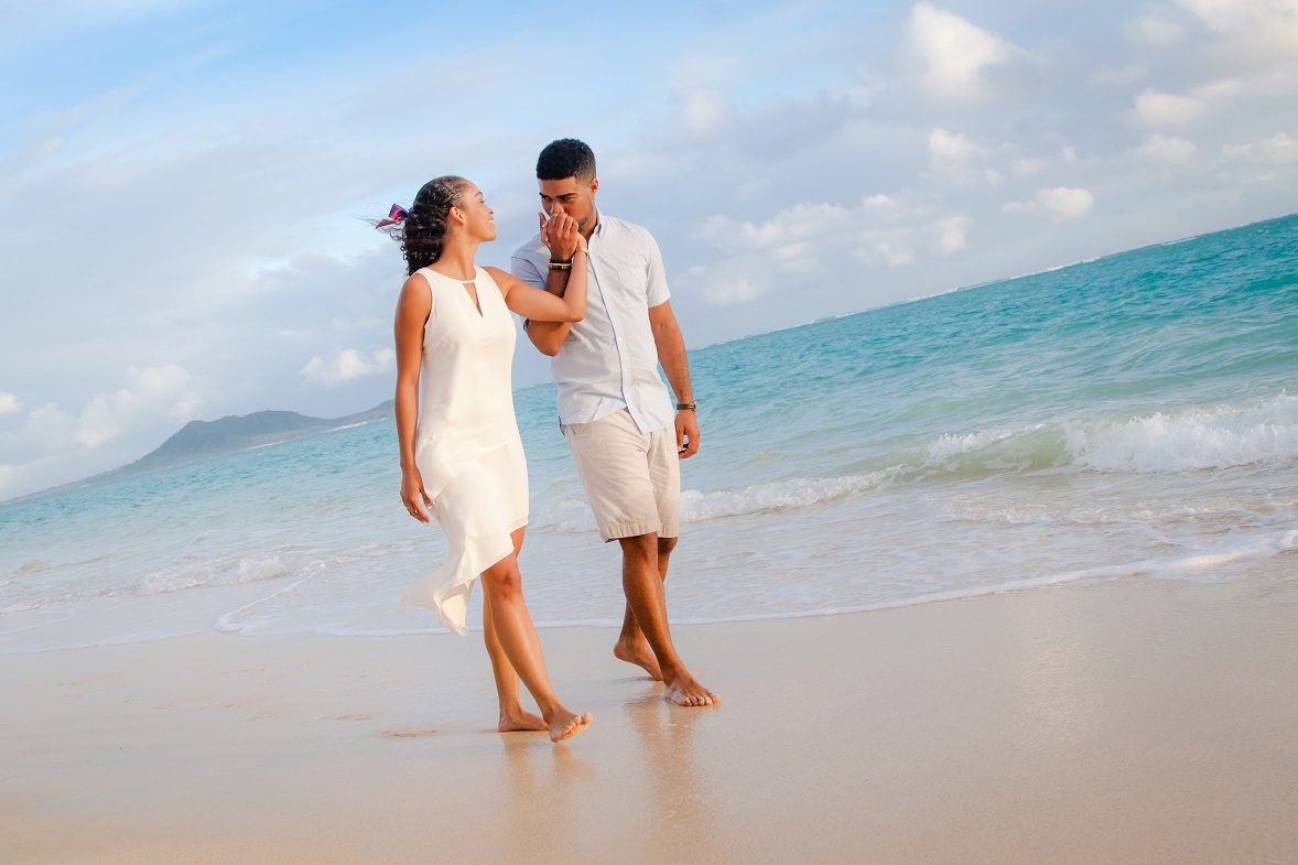 engagement portrait at Lanikai Beach Oahu Hawaii