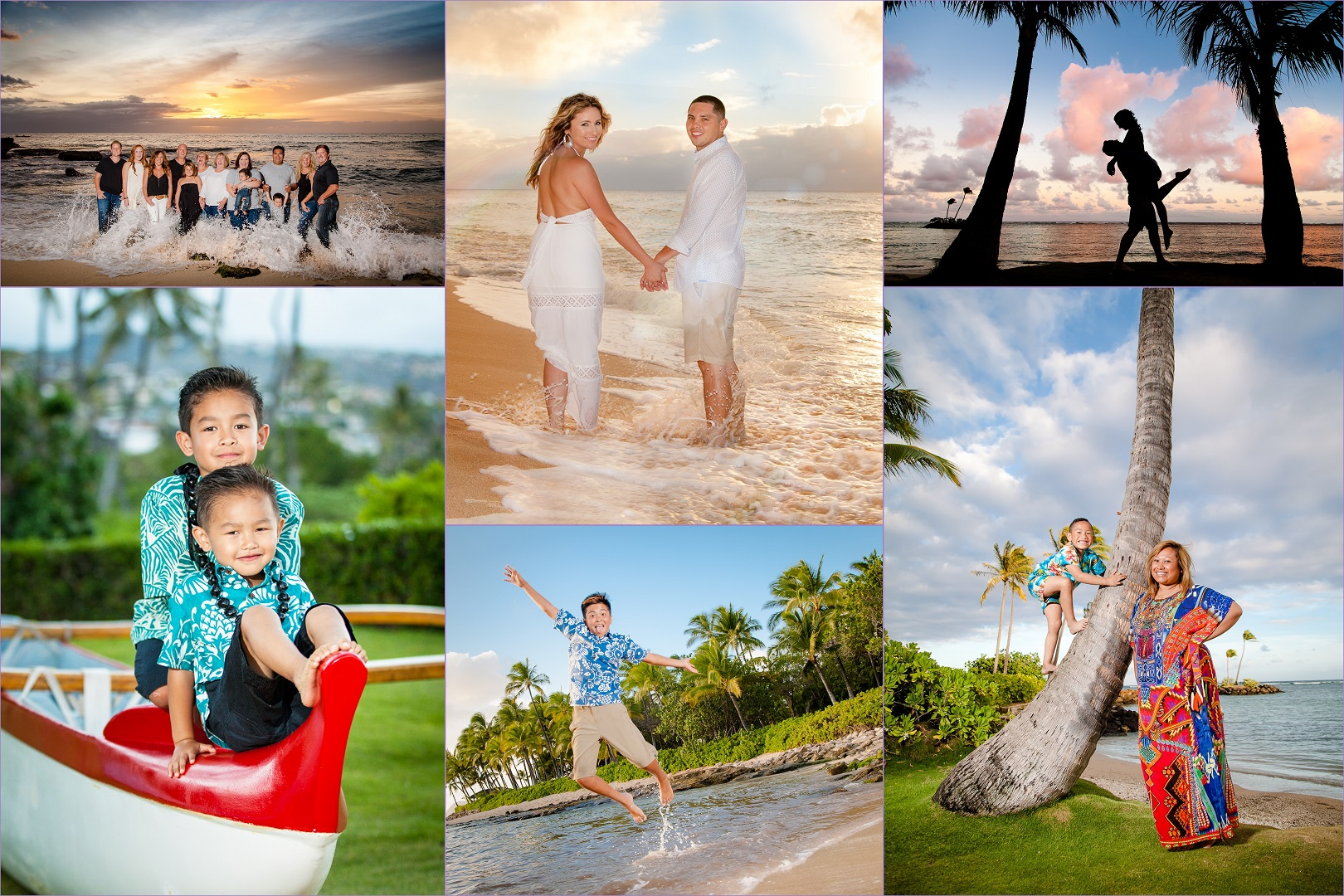 oahu hawaii sunset family beach photography collage