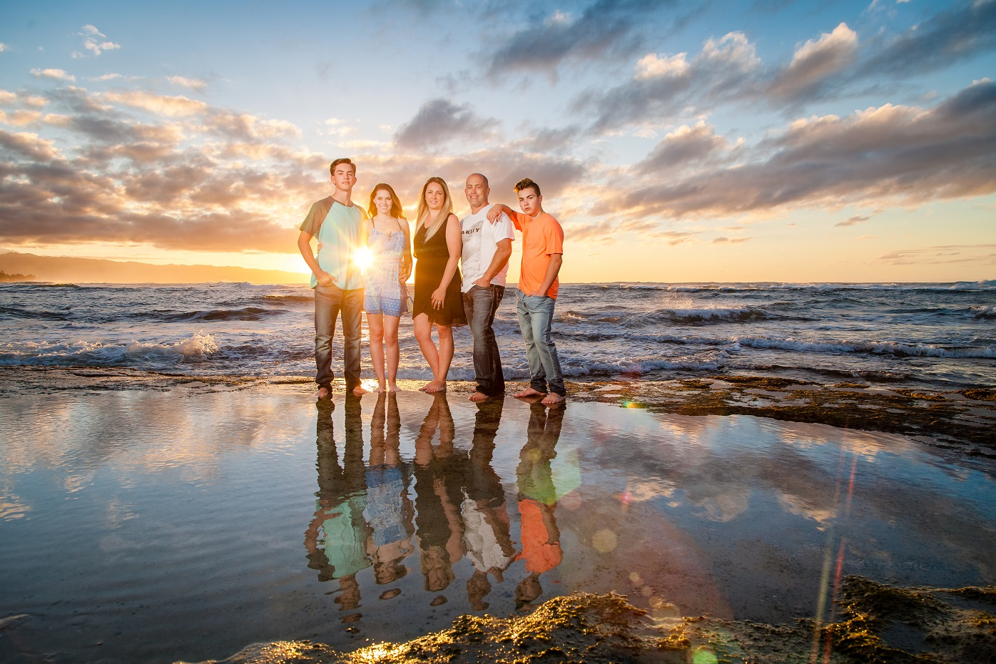 Family Sunset Beach Reflection Portrait, Sunset Beach, Oahu's North Shore