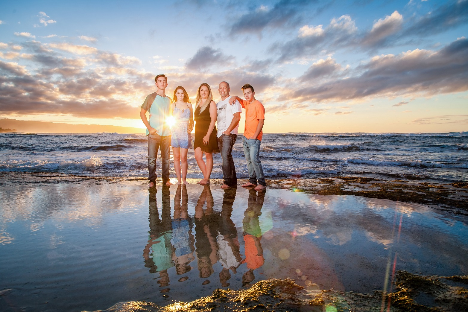 sunset beach family portrait