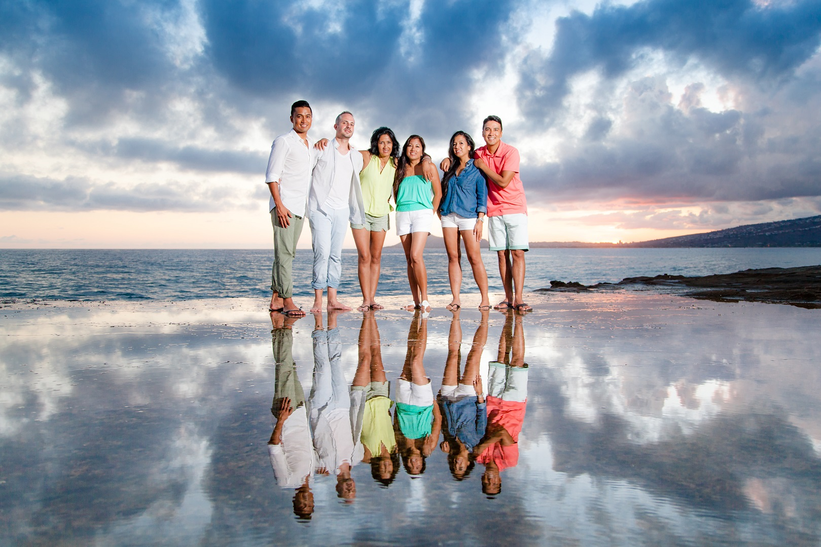 sunset reflection family portrait