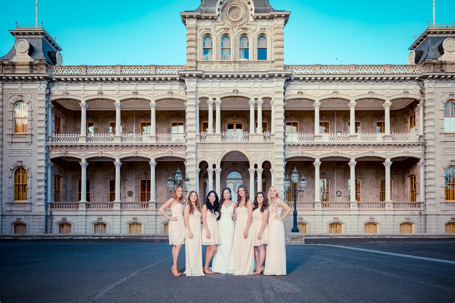 bridesmaids portrait Iolani Palace wedding Oahu