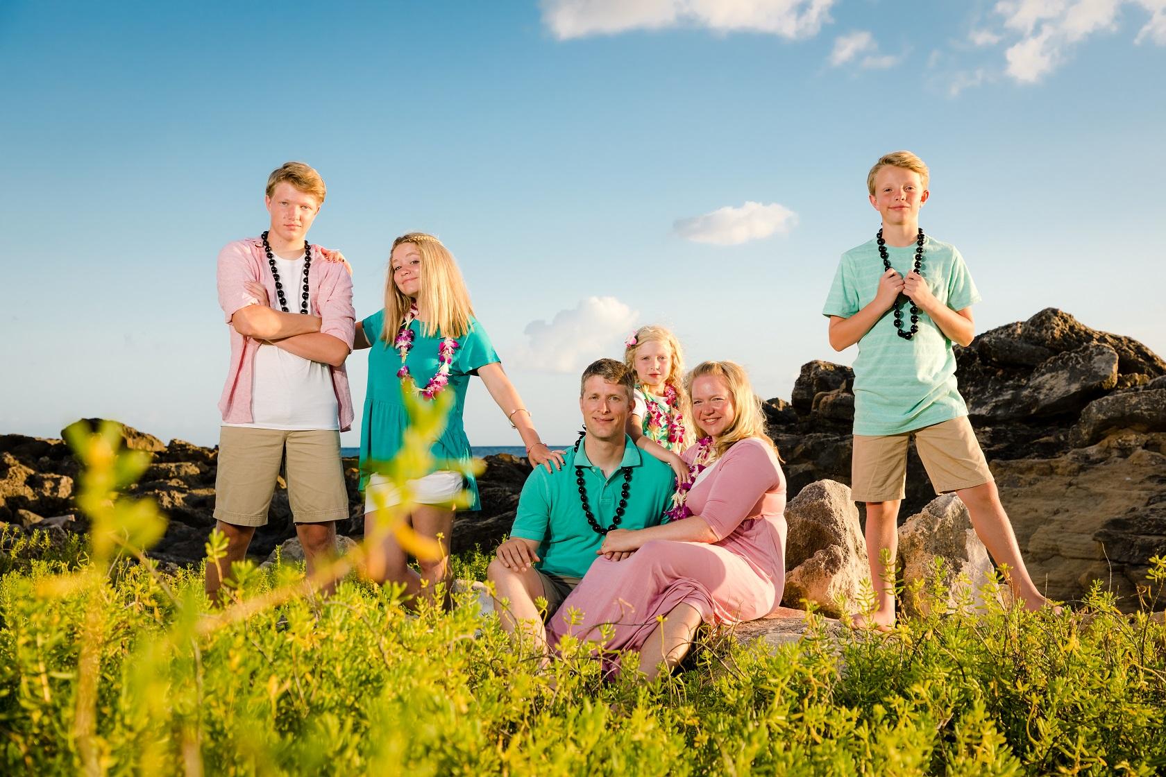 family sunset beach portrait