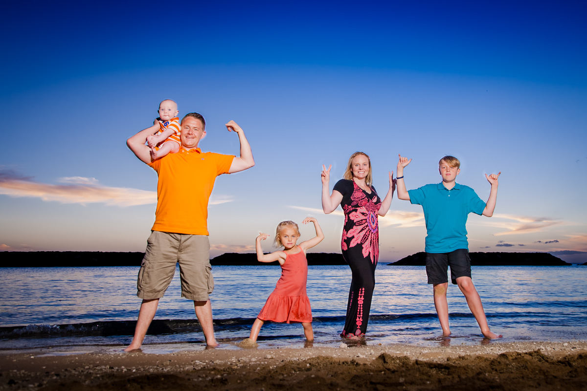 family sunset portrait on waikiki beach