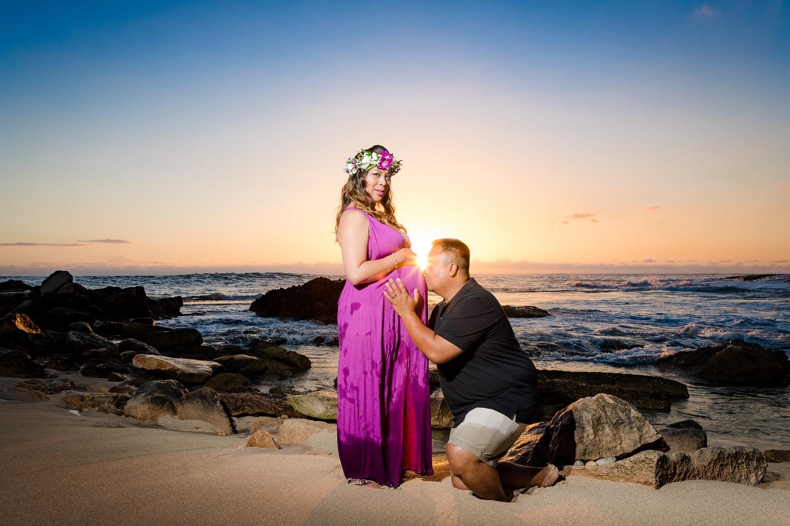 sunset maternity portrait session