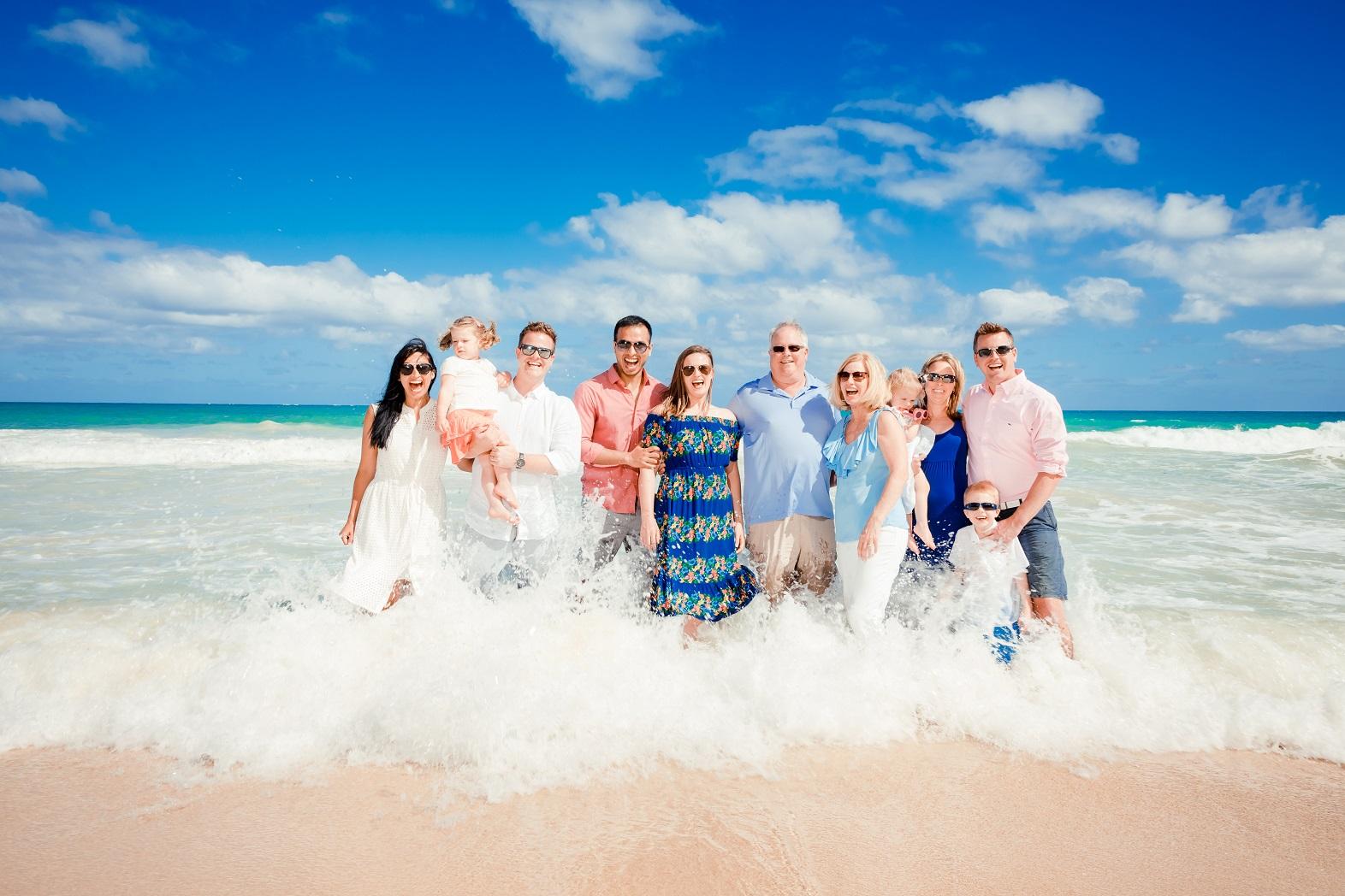 Oahu family vacation ocean beach wave portrait