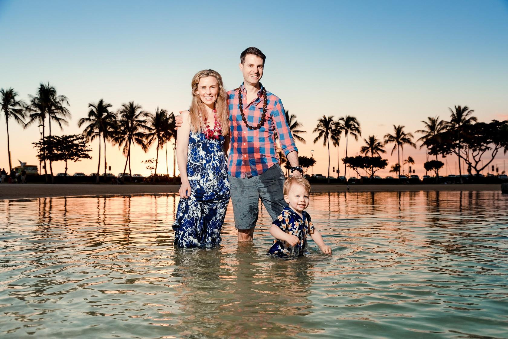 family sunset portrait waikiki hilton village lagoon