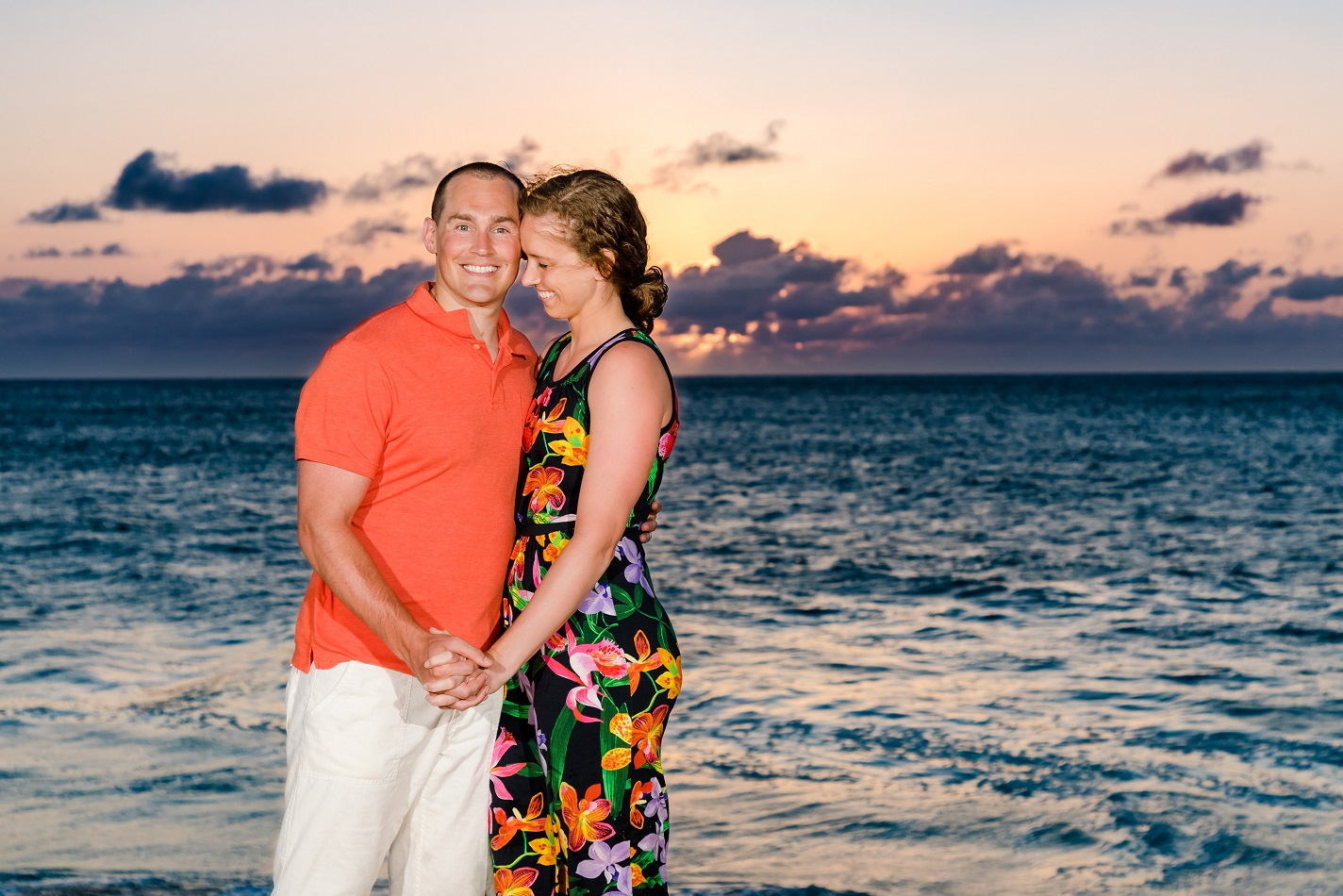 couples sunset beach engagement photo