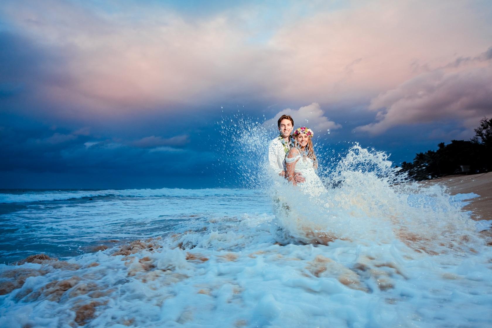 sunset wedding portrait on Oahu north shore