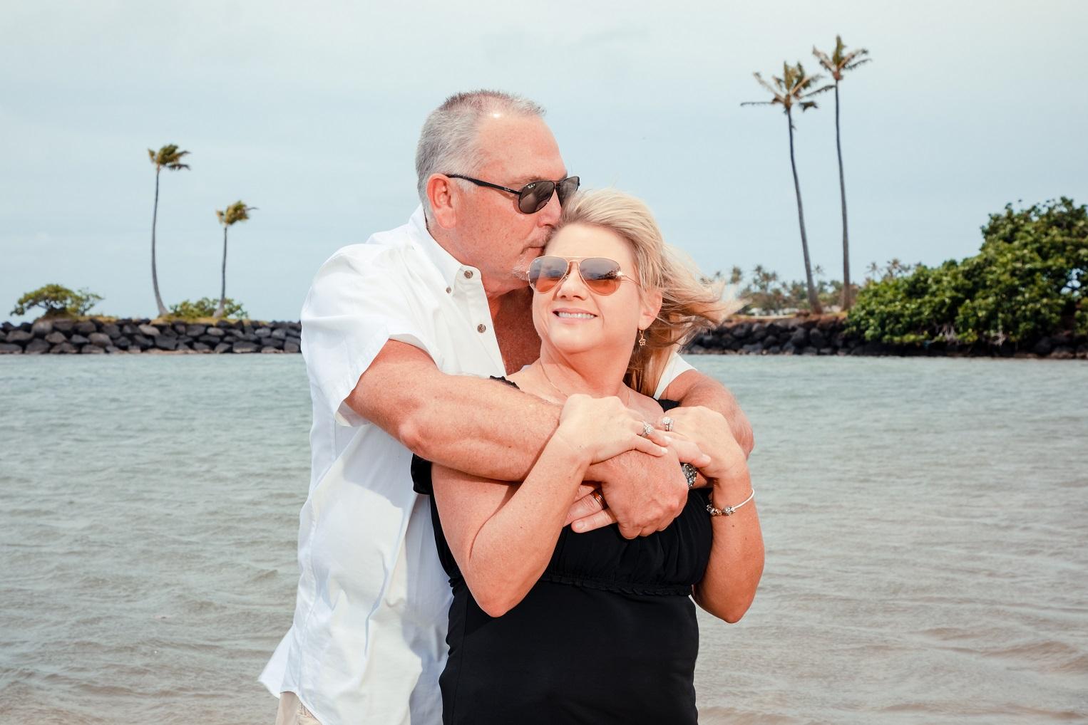 couples anniversary portrait oahu beach