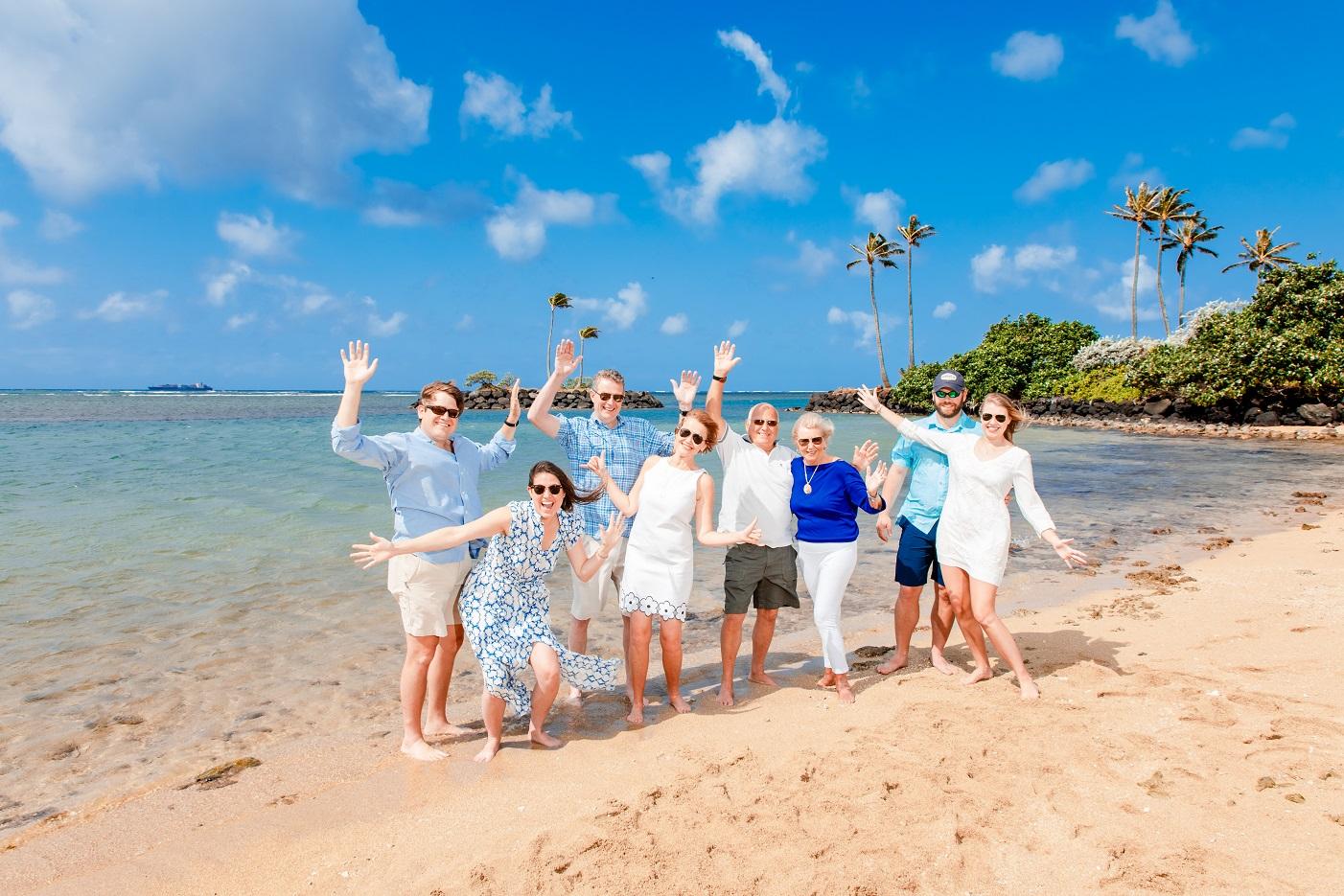 family vacation celebration photo on the beach