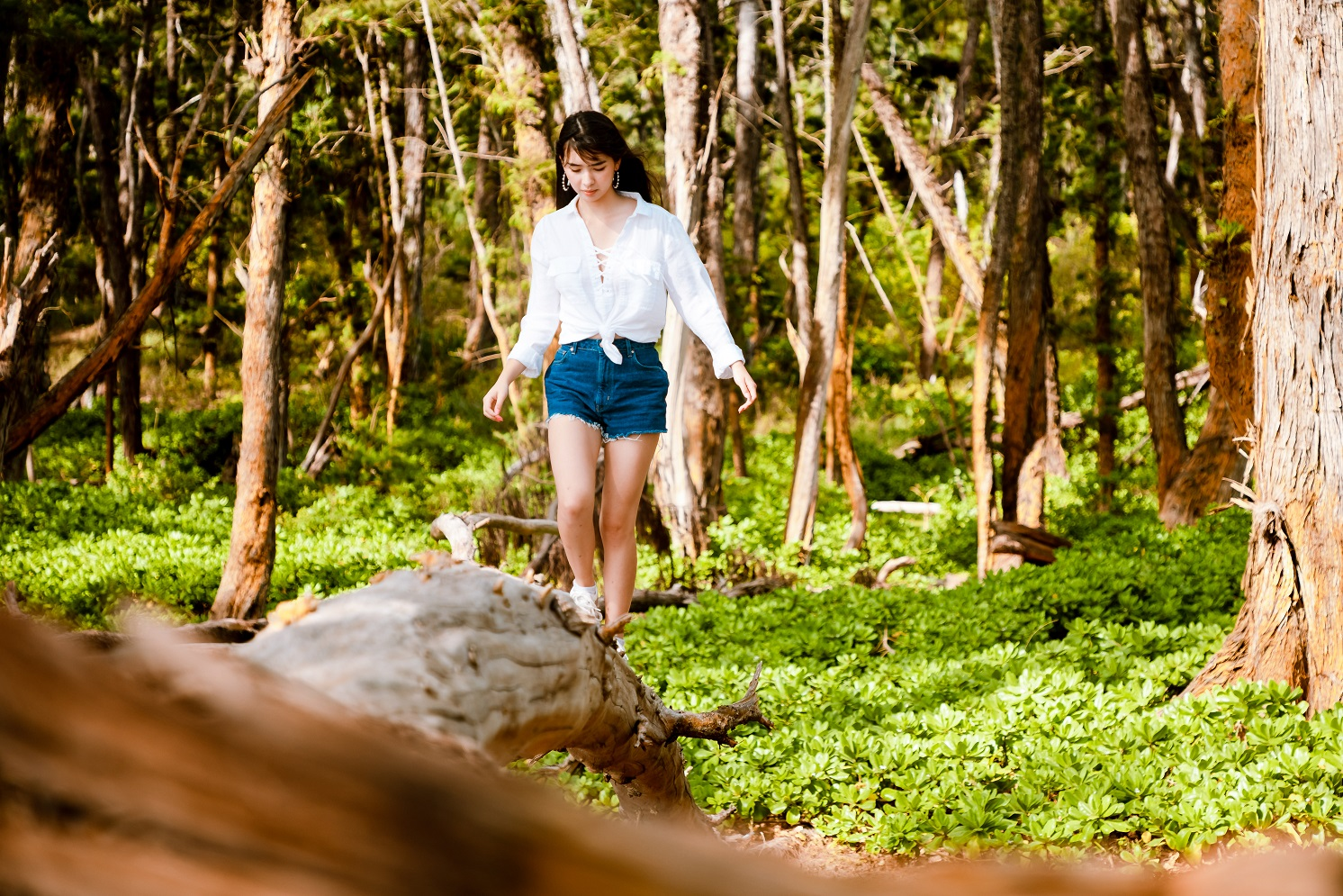 Kami was quite shy at first for her senior portraits so I had her walk this log.