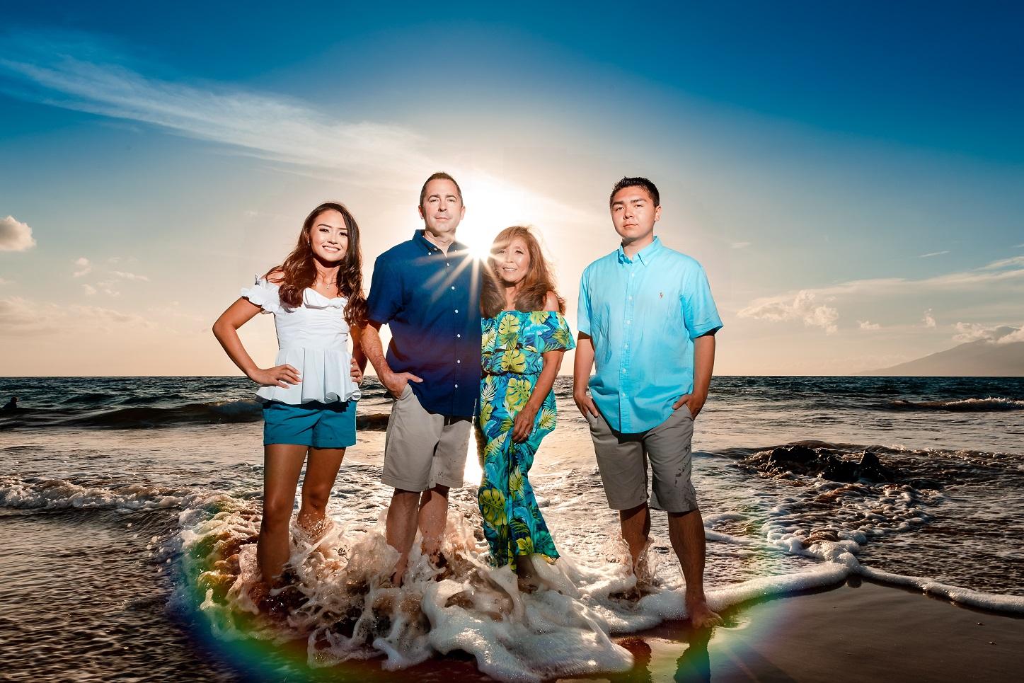 sunset beach portrait maui family