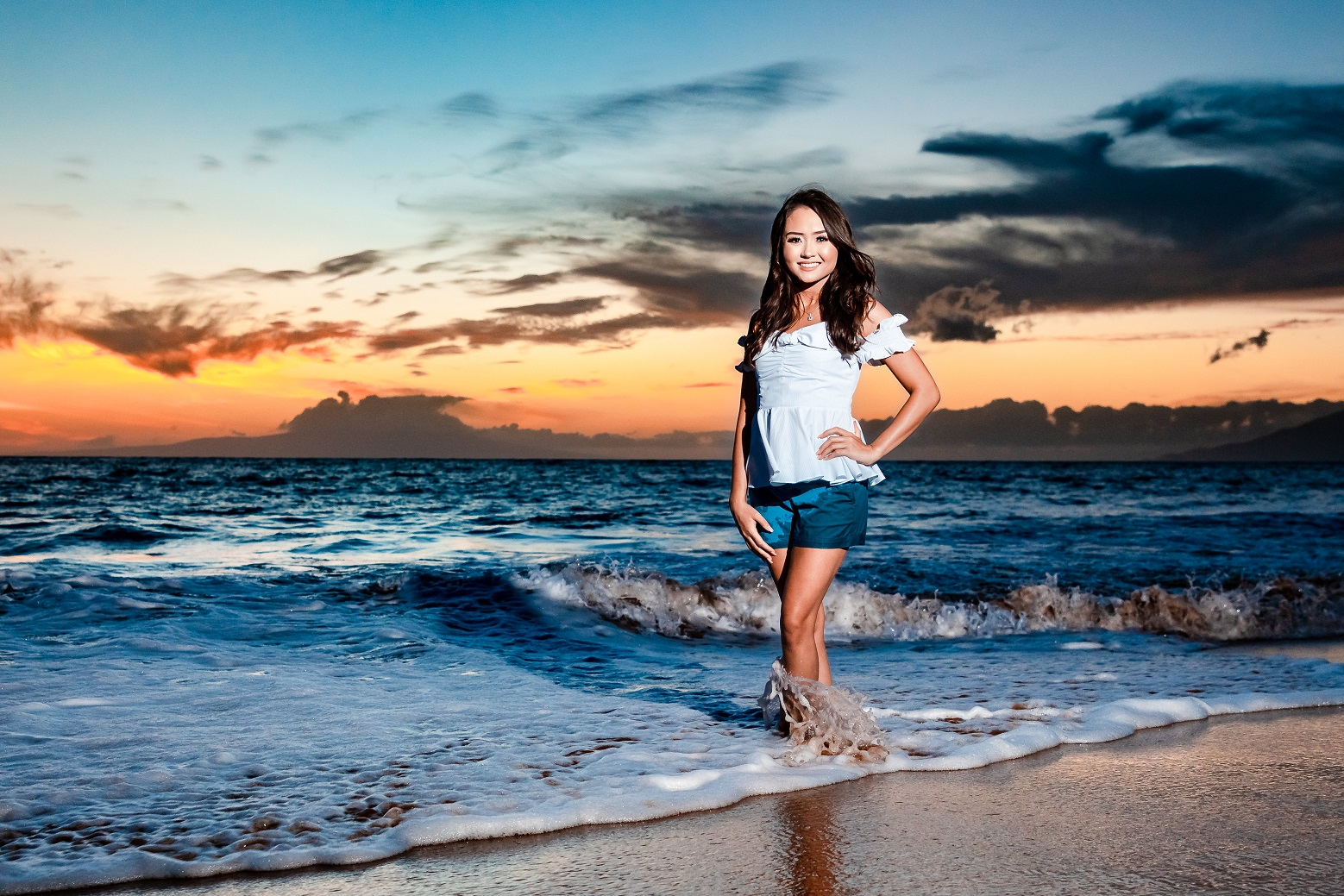 young woman family beach sunset photography portrait