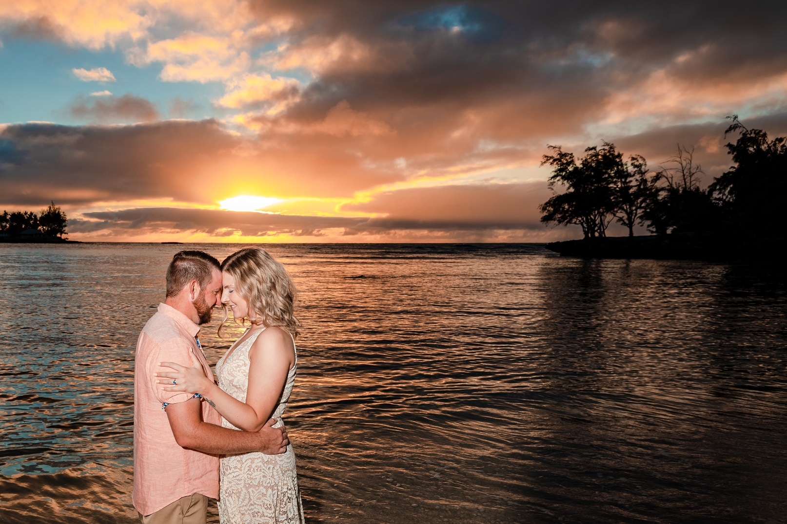 sunset anniversary couples portrait north shore oahu