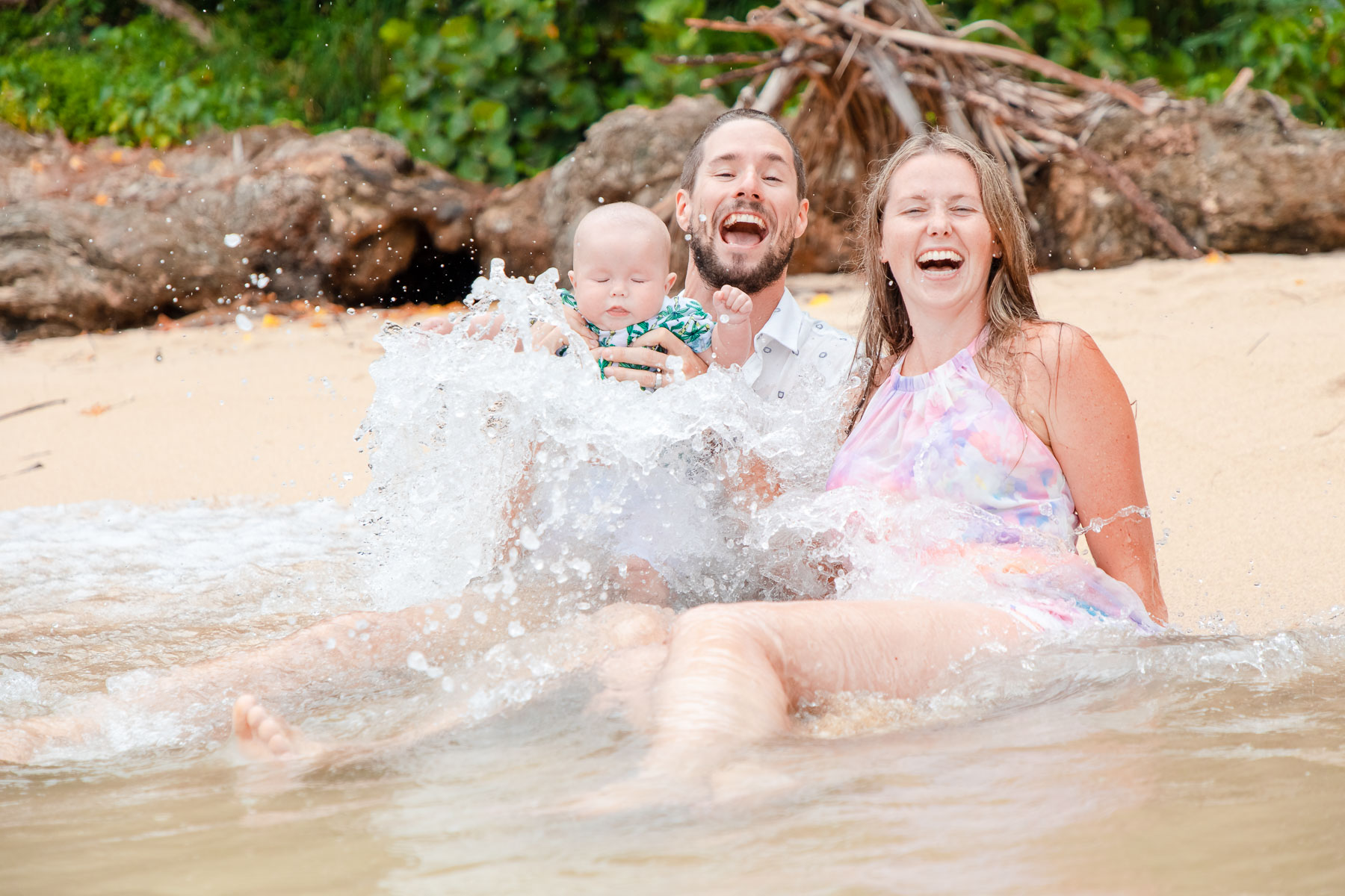 Fun family portrait at Kawela Bay Beach Park on Oahu's North Shore