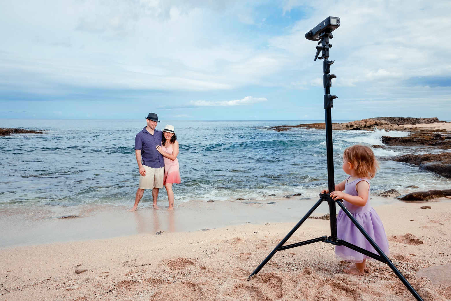 Behind the scenes of a family photo session at Ko Olina