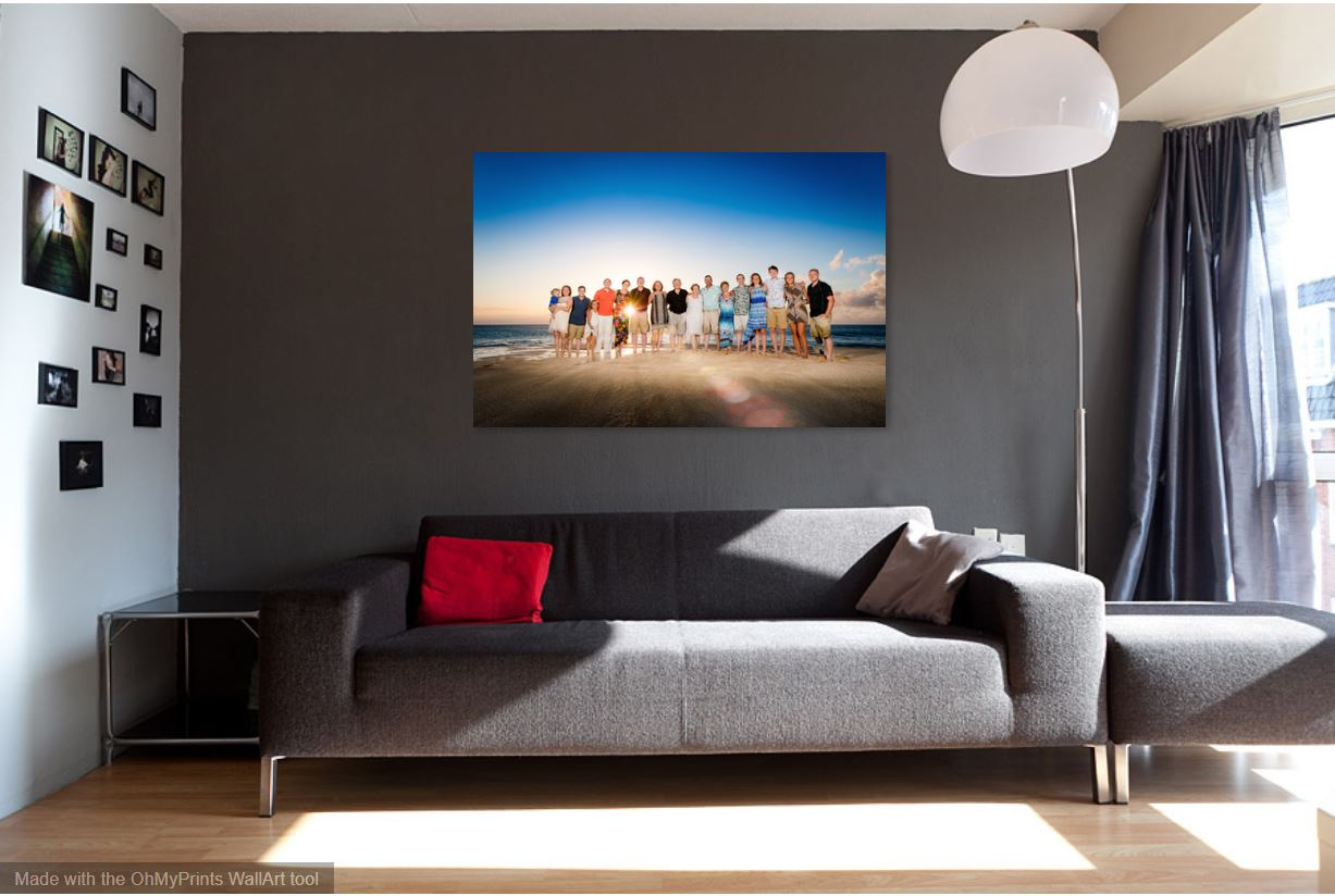 living room wall art enlargement family vacation photo