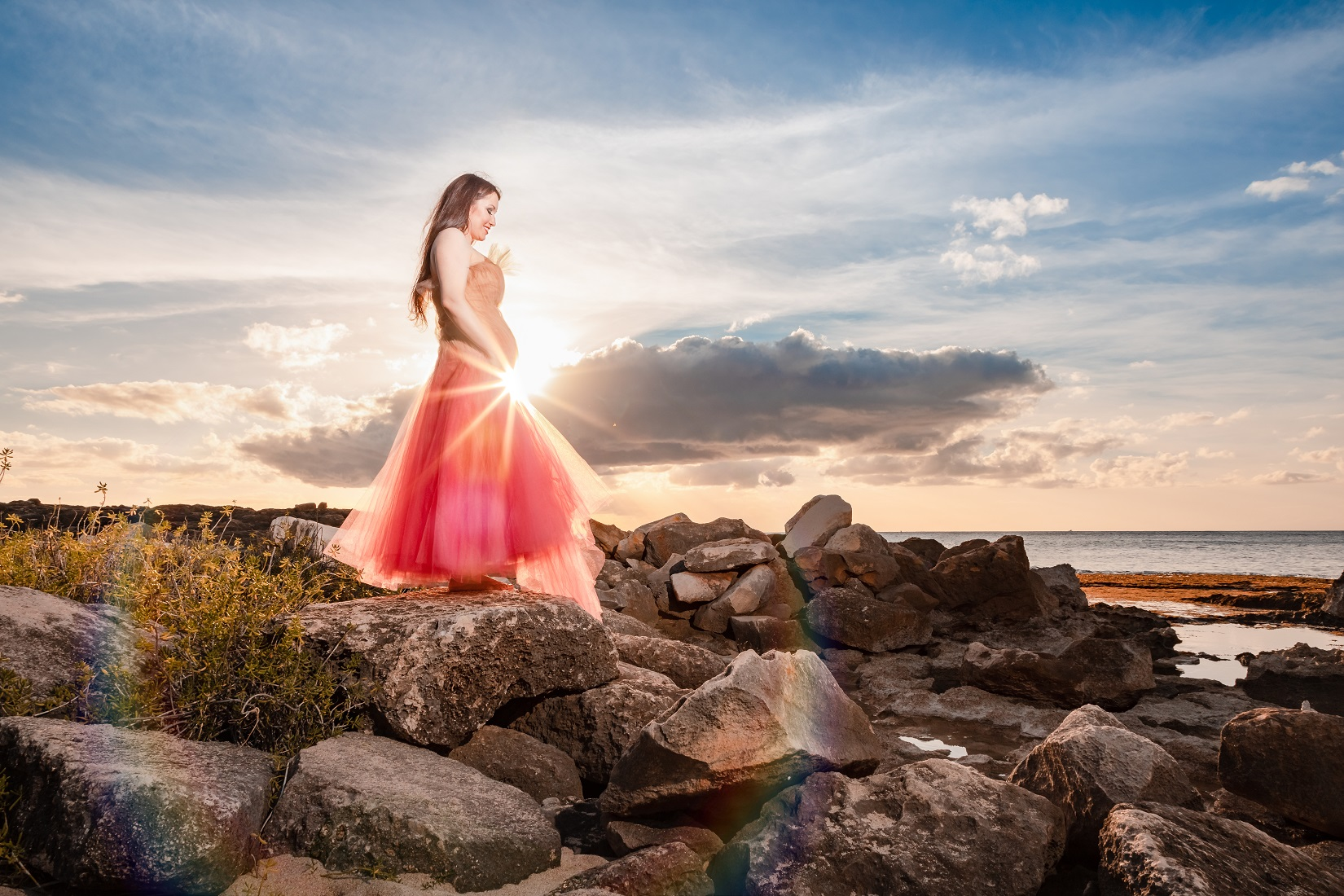 maui hawaii sunset maternity baby pregnant photography sun flare