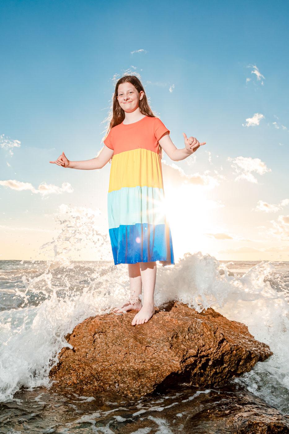 senior kids ocean wave beach oahu hawaii portrait