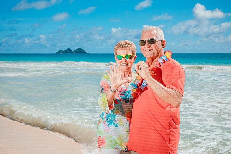 50th anniversary couples hawaii oahu beach photos