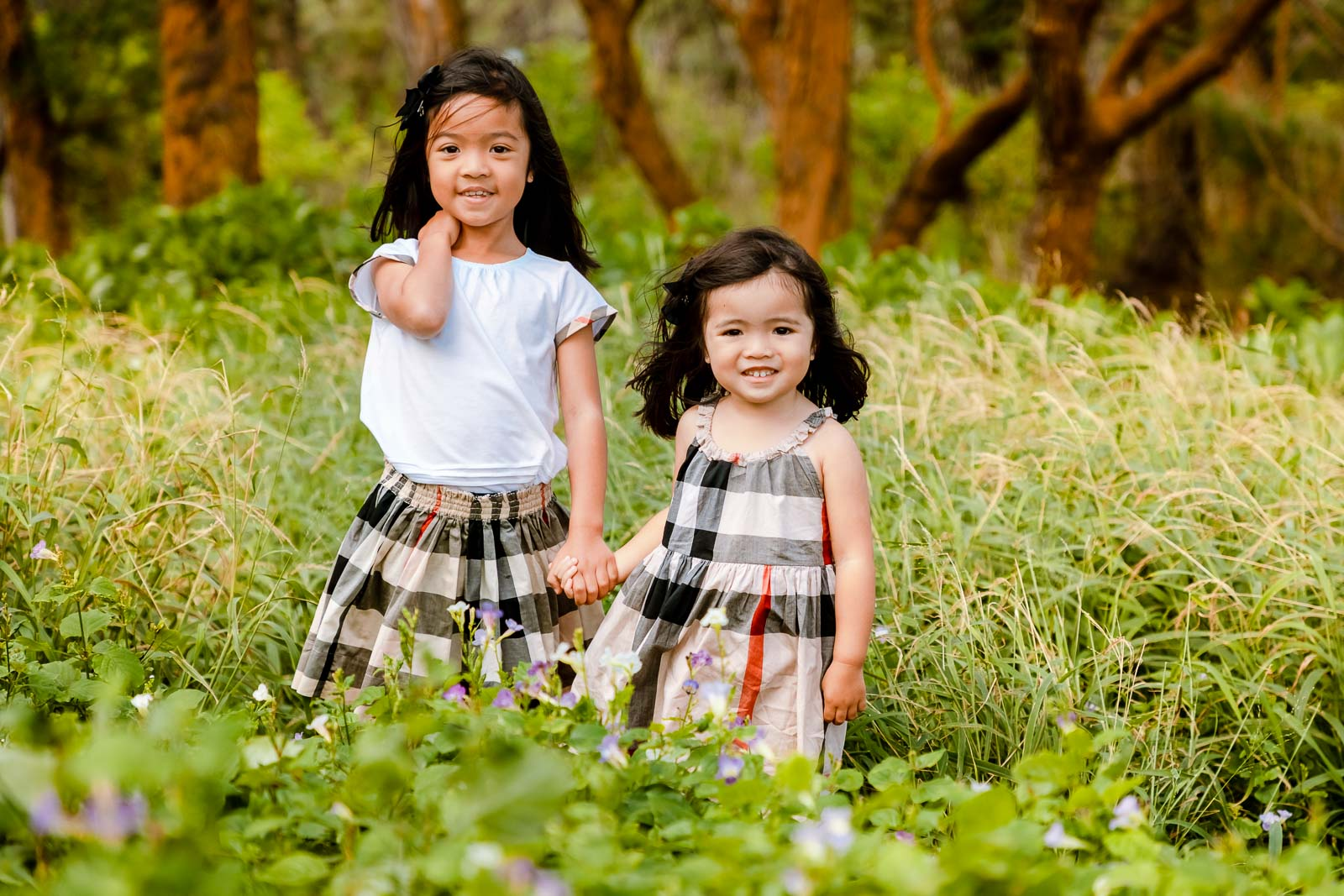 affordable family portrait photography oahu hawaii kids children forest flowers meadow