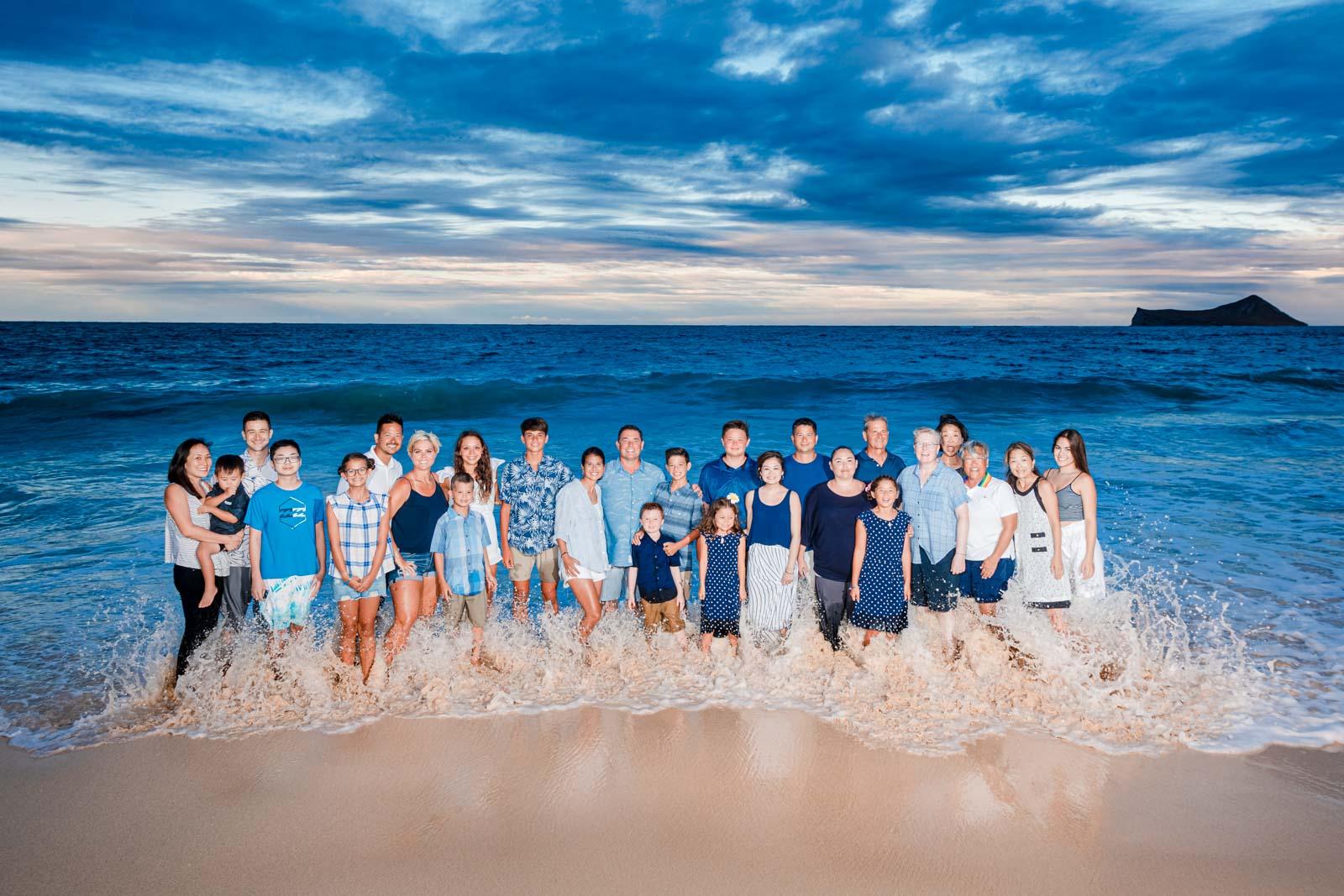 large family portrait beach surf ocean sunset waimanalo oahu