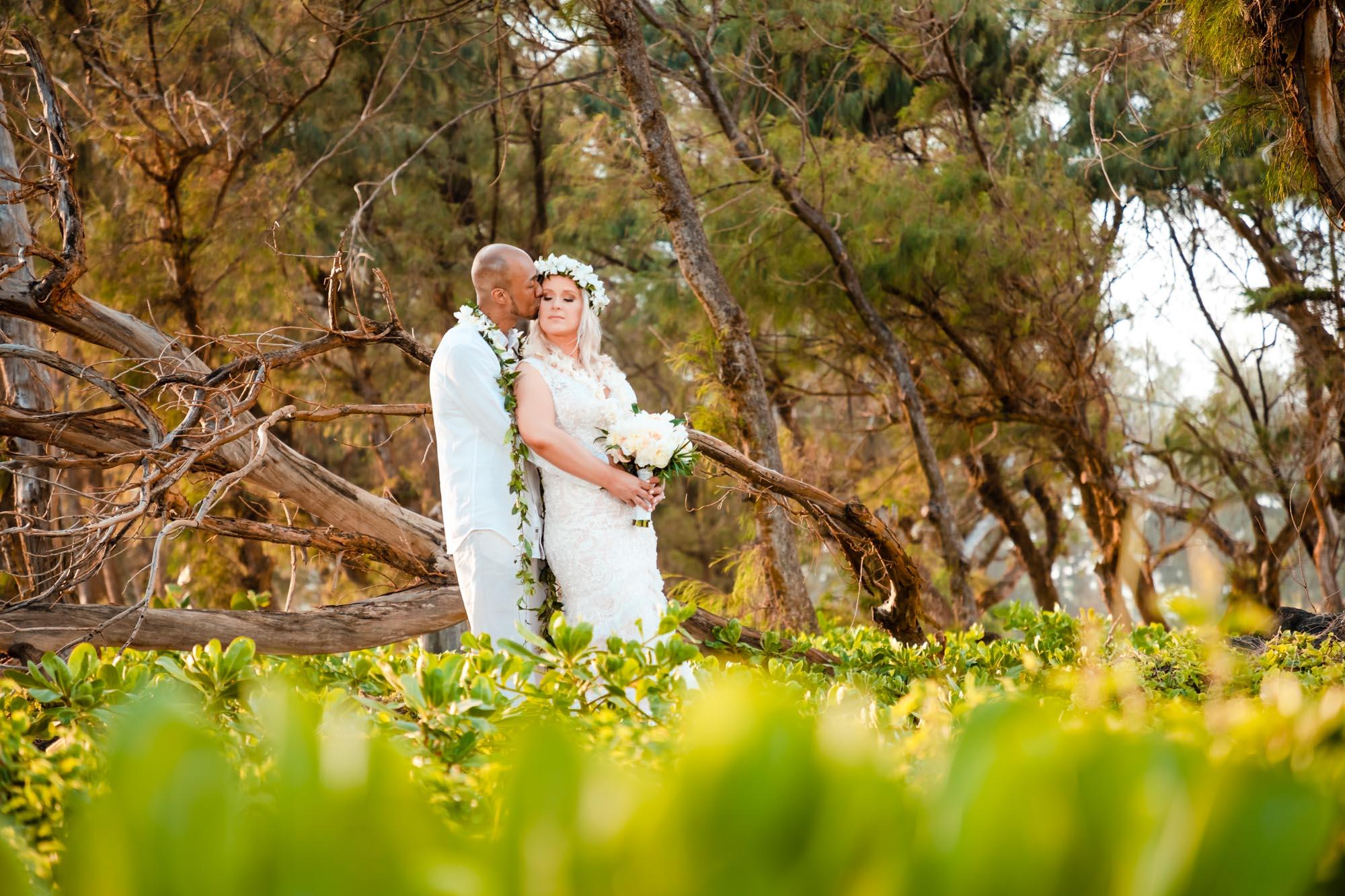 hawaii wedding bride groom portrait forest