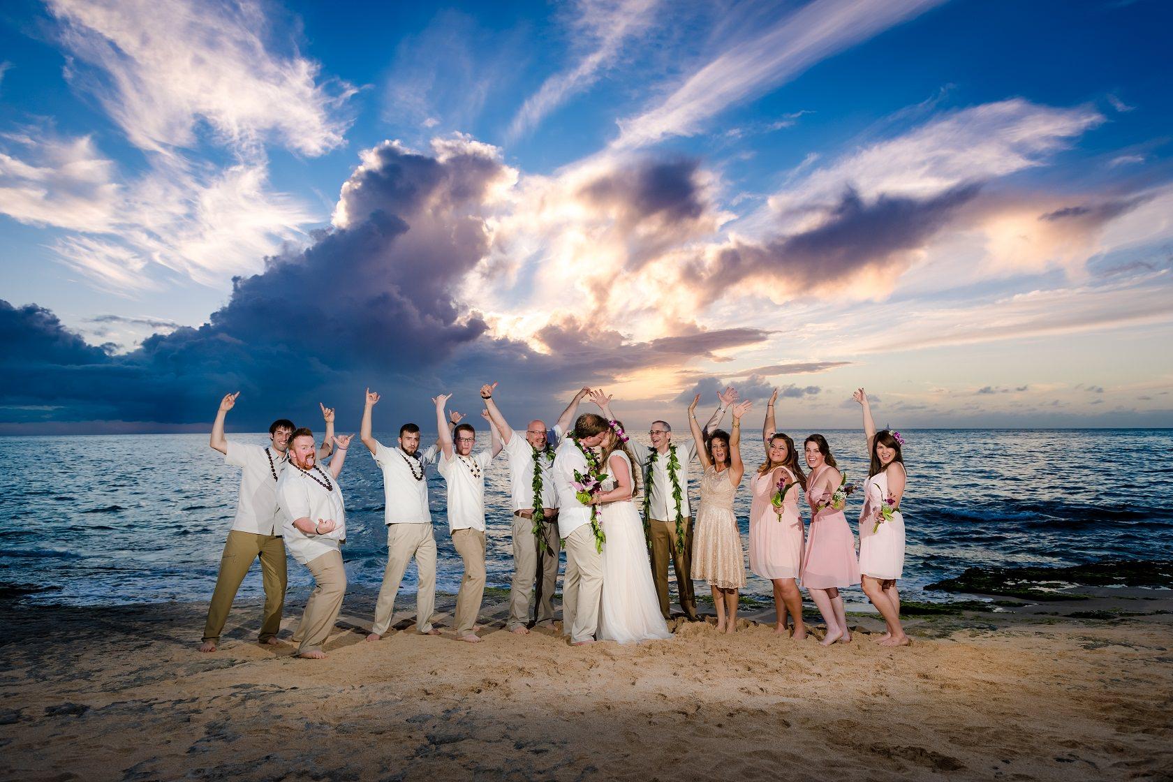 wedding party celebration beach sunset oahu hawaii