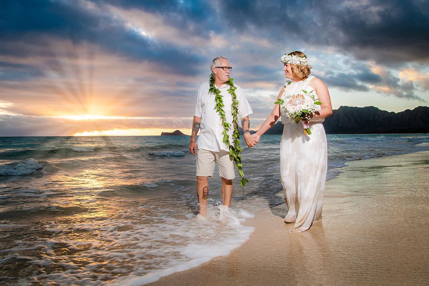oahu sunrise beach wedding bride groom portrait