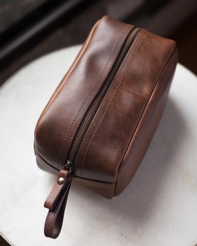 men's leather dopp kit