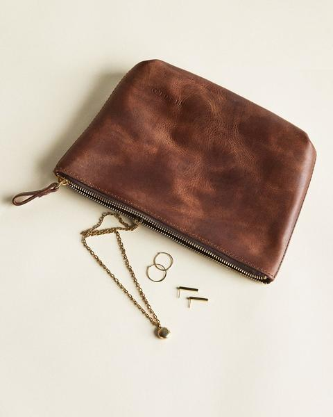 ethically made leather clutch