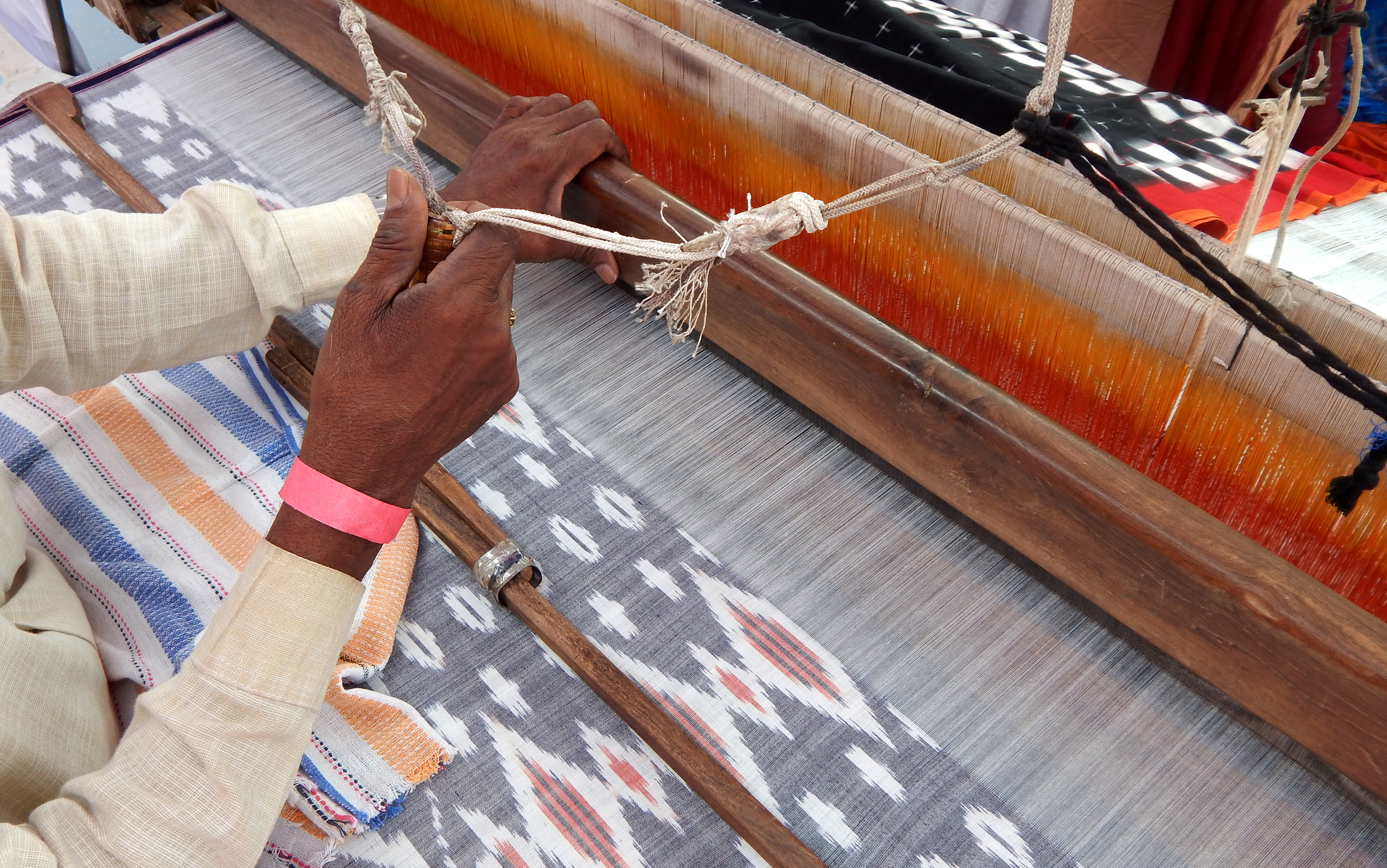 Artisan Weaving Ikat Fabric