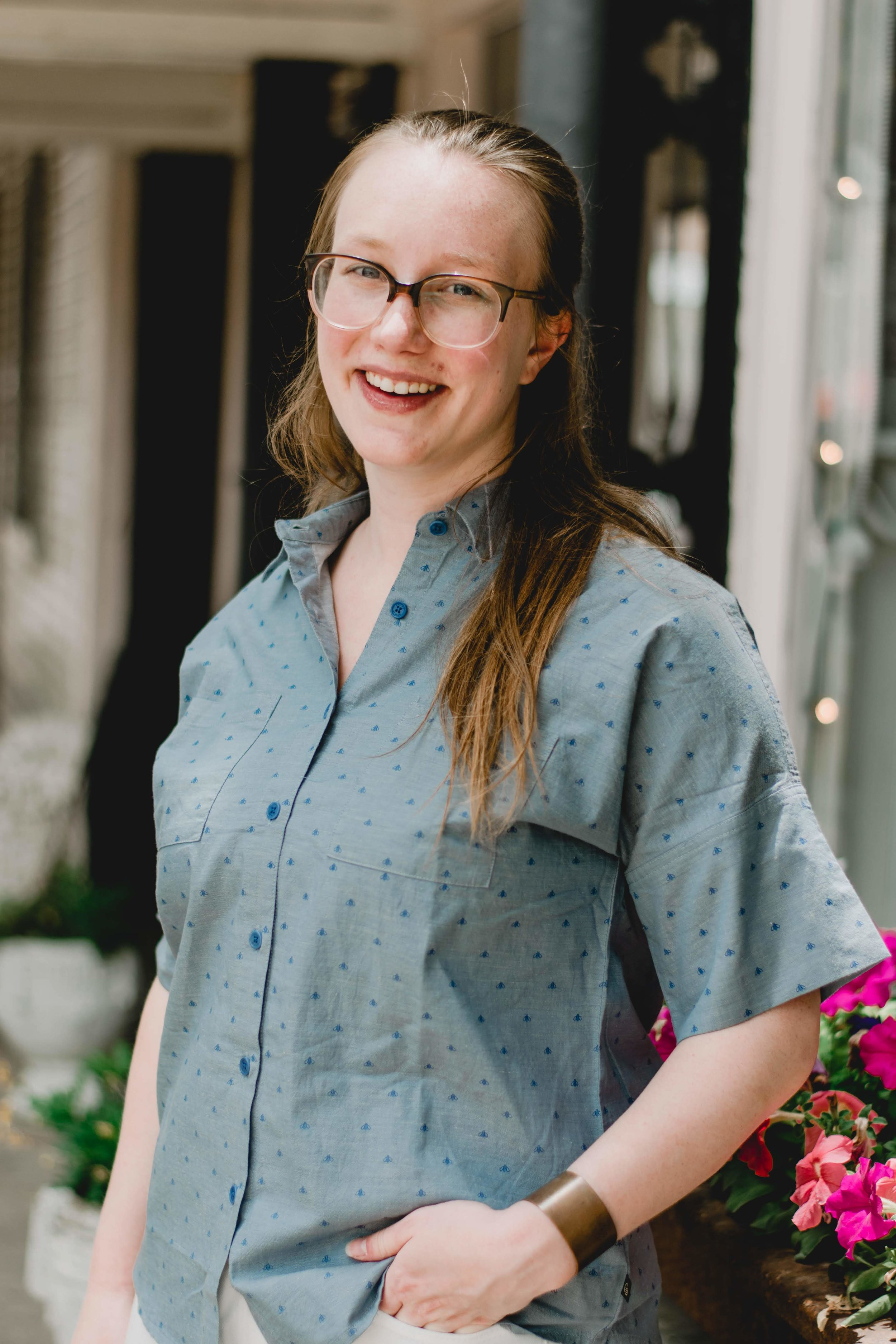 Ethically styled in  Bee Button Down from United by Blue  +  Warby Parker's Laurel Glasses  +  Medium Copper Cuff from BRANDED Collective