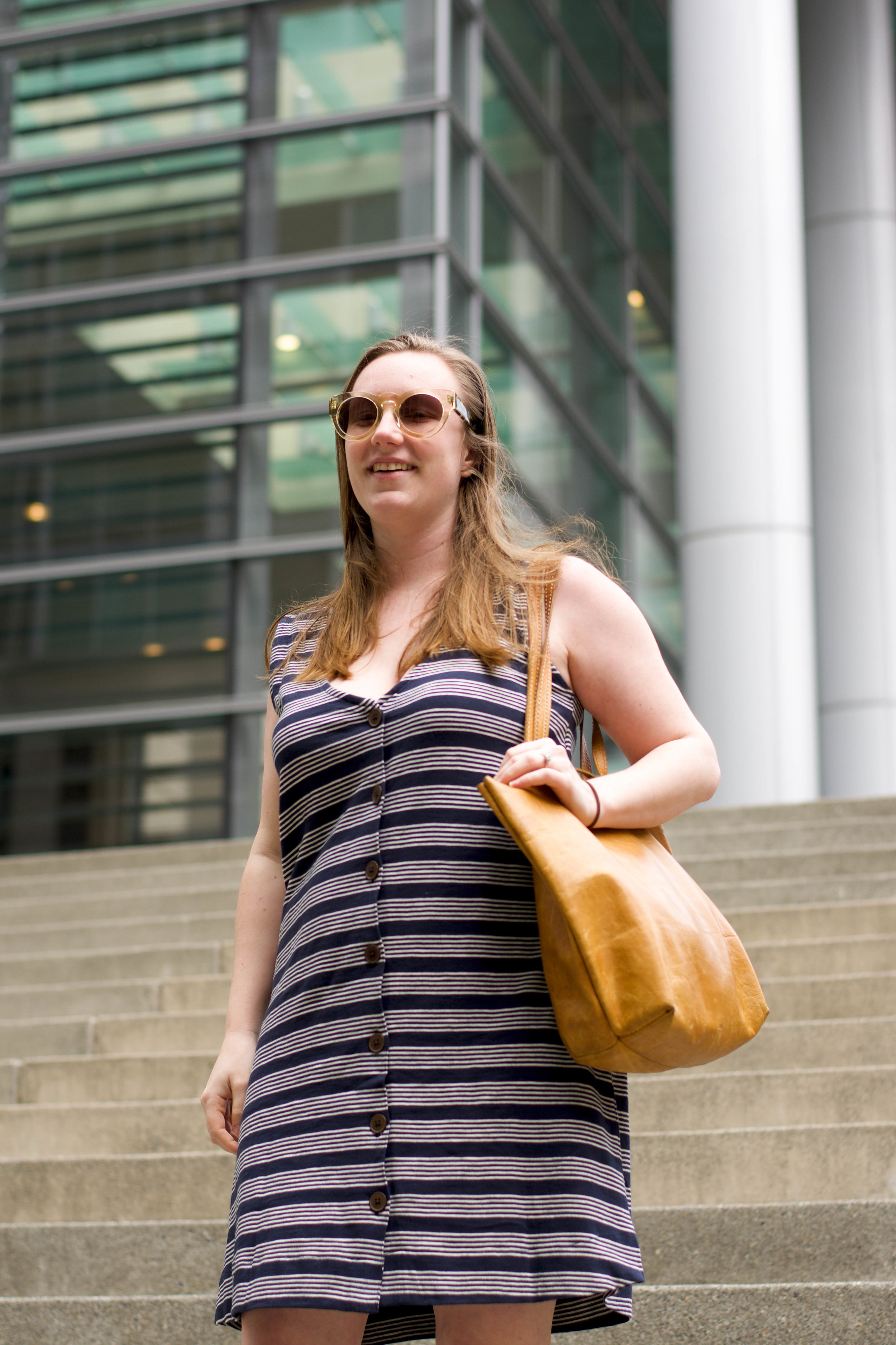 Wearing PACT Button Tank Dress + Dynamikos sunglasses + Lazarus Artisan Goods Tote