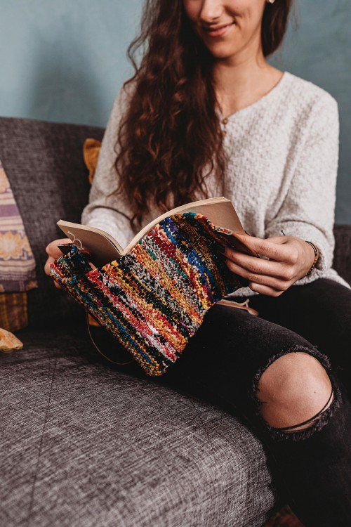 travel journal made from recycled sari