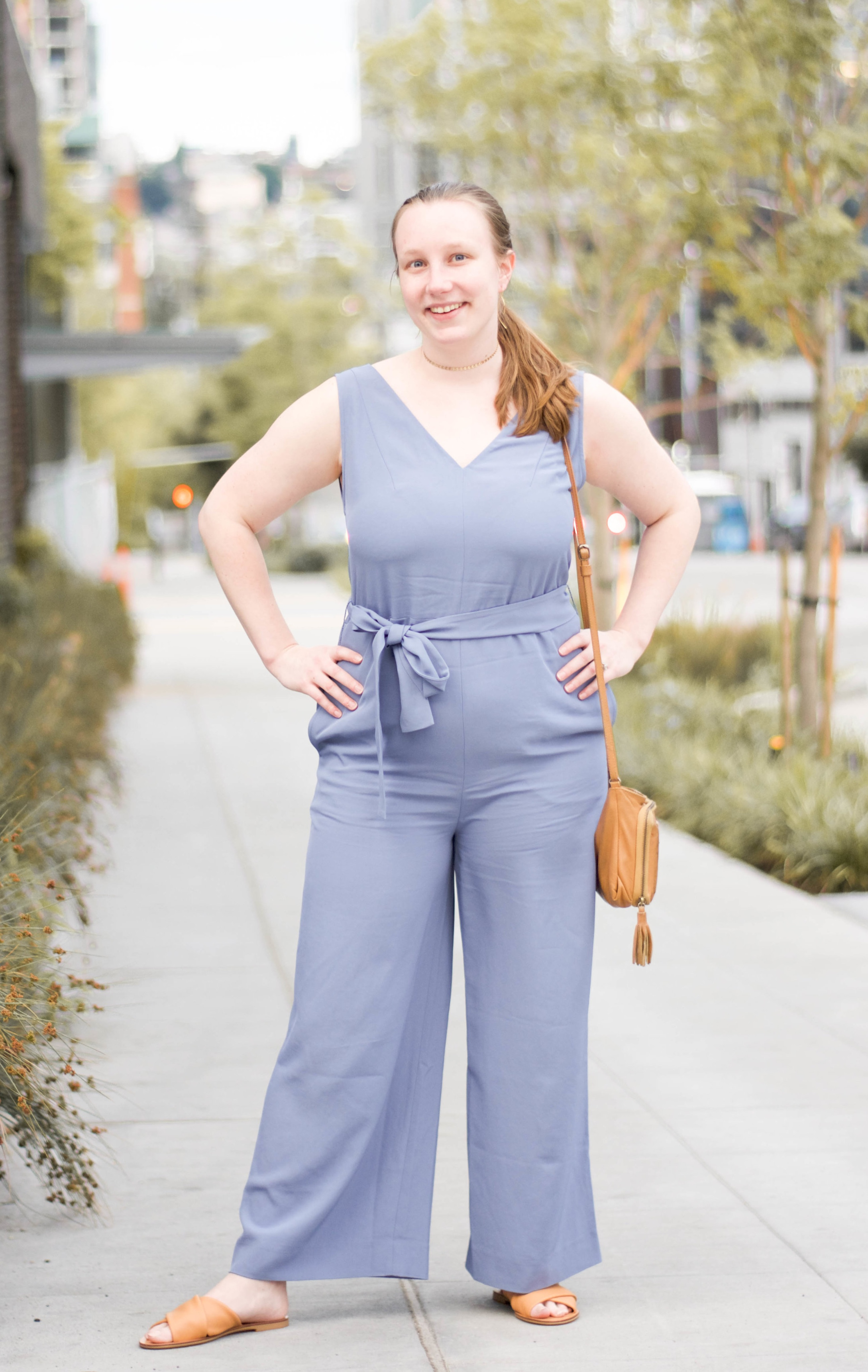 Ethically styled in:  Japanese   GoWeave Essential Jumpsuit from Everlane  +  Crossover Sandals from Everlane  +  Gold Coin Choker from Kind Karma  +  Leonie Handbag from Empire of Bees .