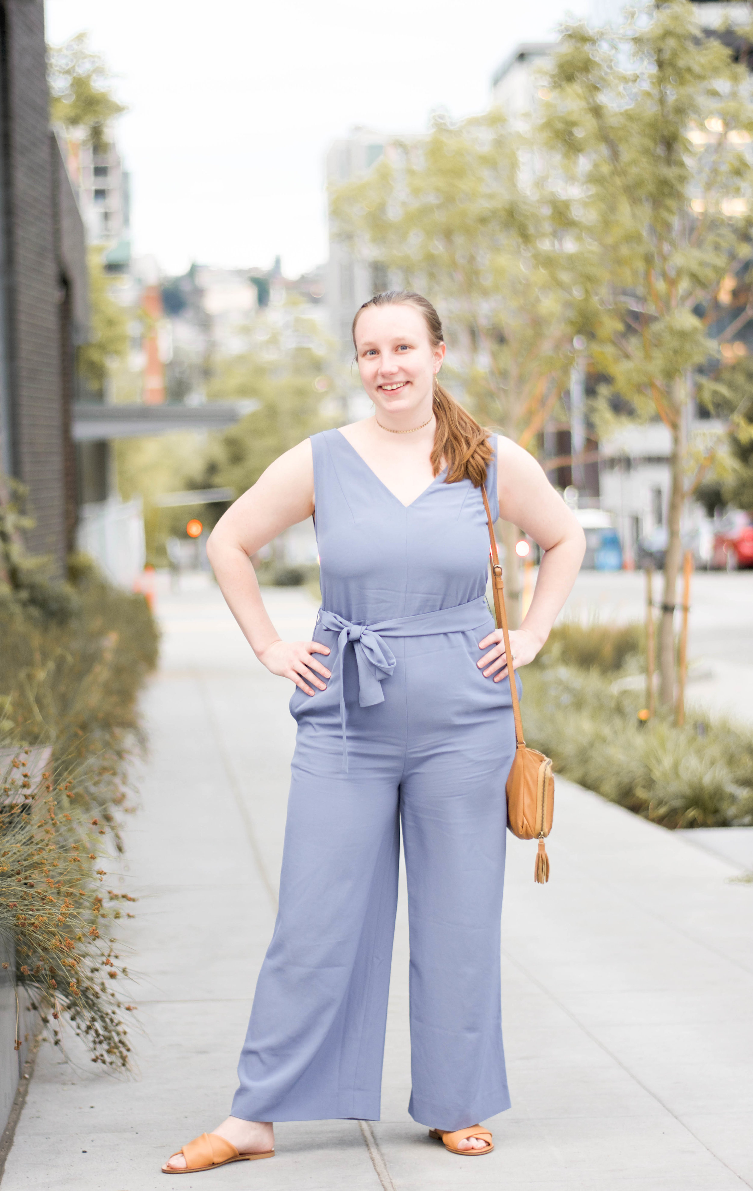 the  Japanese   GoWeave Essential Jumpsuit from Everlane  +  Crossover Sandals from Everlane  +  Gold Coin Choker from Kind Karma