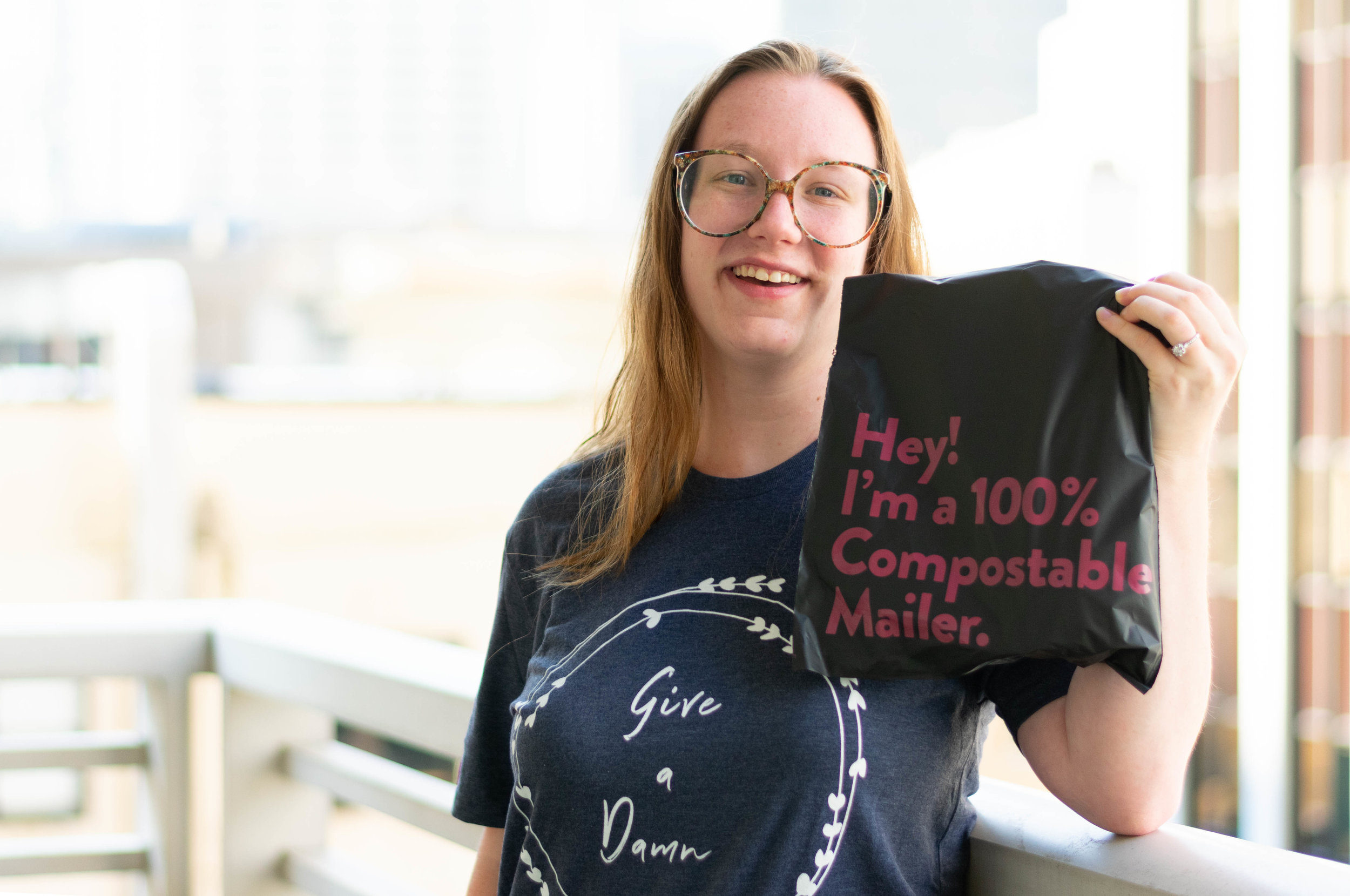 Ethically featuring  noissue compostable mailer  +  Give a Damn tee from Give a Damn Goods  + glasses from  Retrospecced