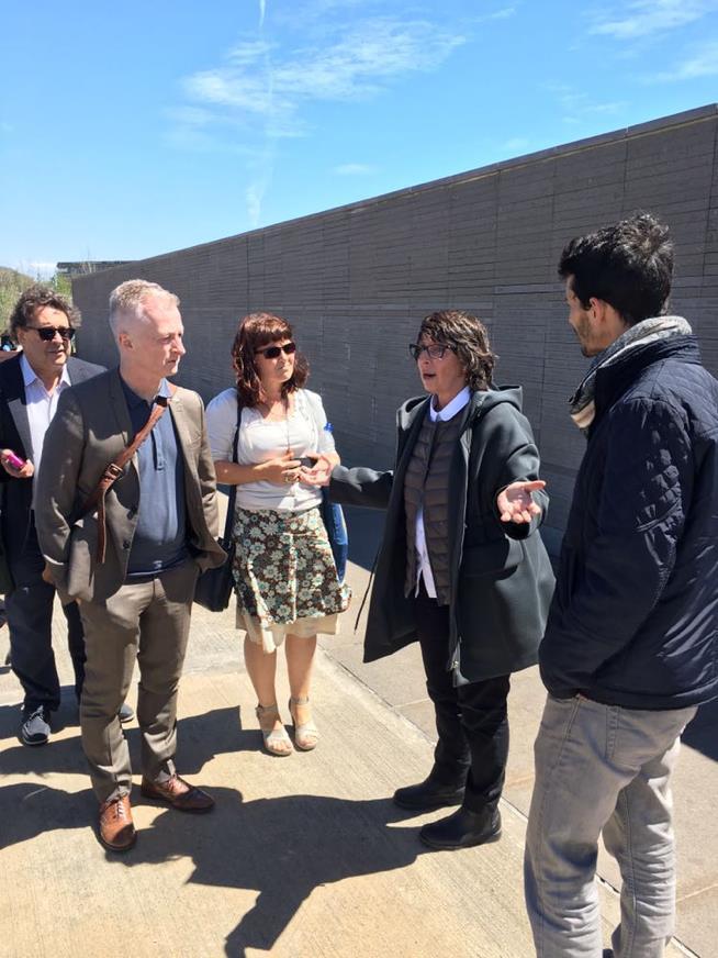 With Nora Hochman Director Parque de la Memoria visiting the powerful and moving Monumento a las Victimas del Terrorismo de Estado.