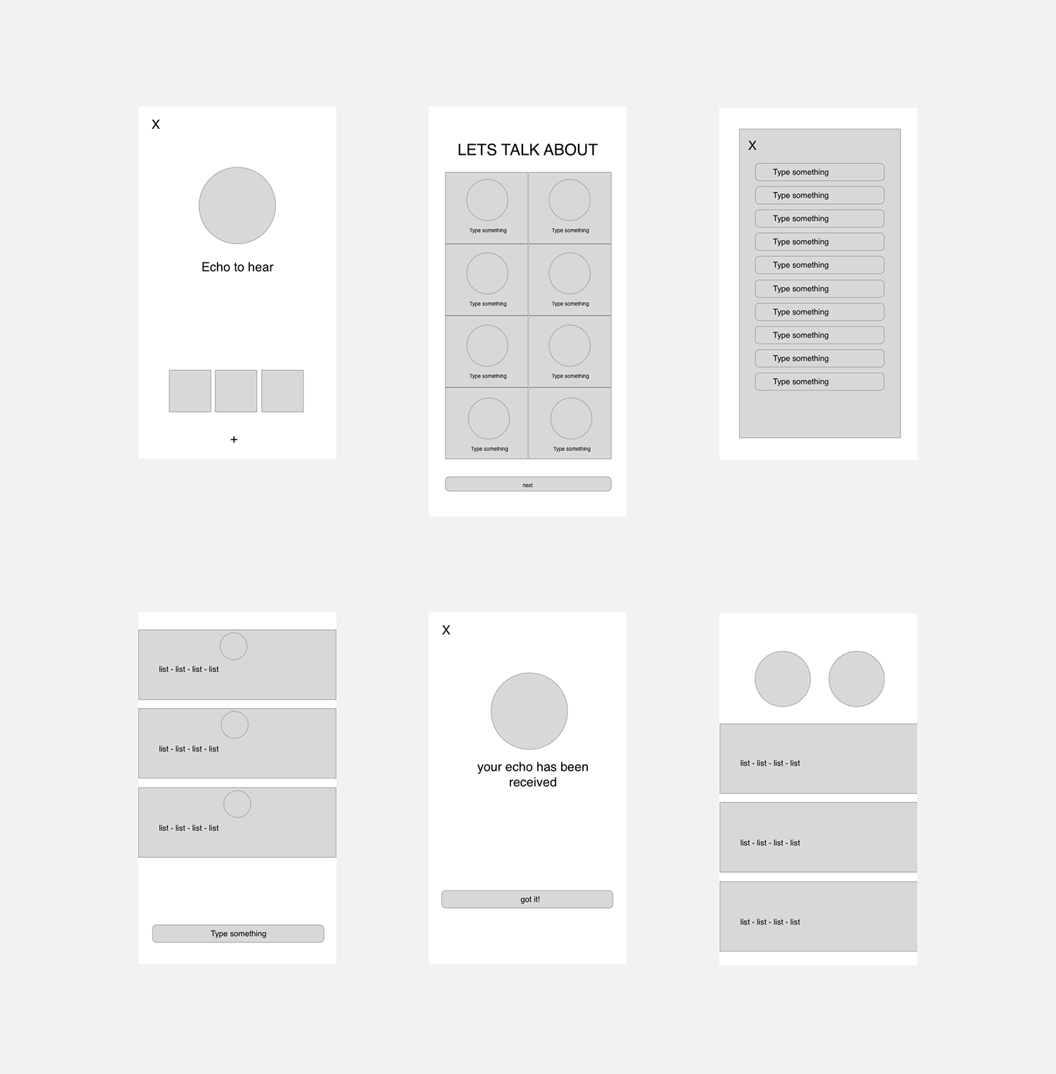Rough wireframes of the application