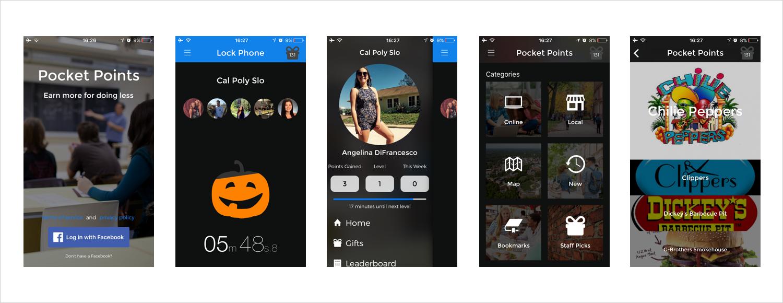 Screenshots of the original Pocket Points app