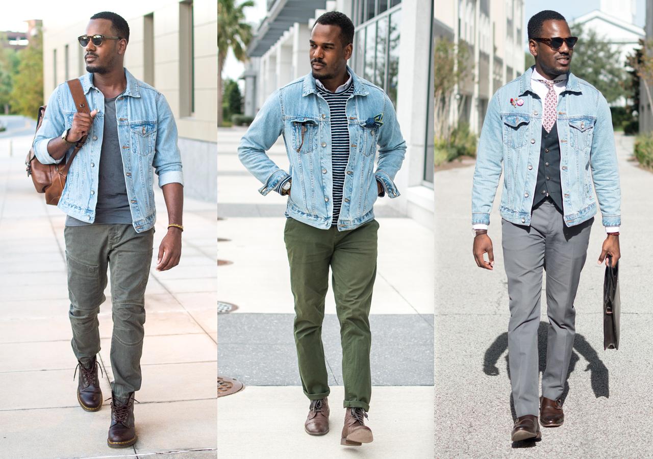 how to wear a denim jacket men