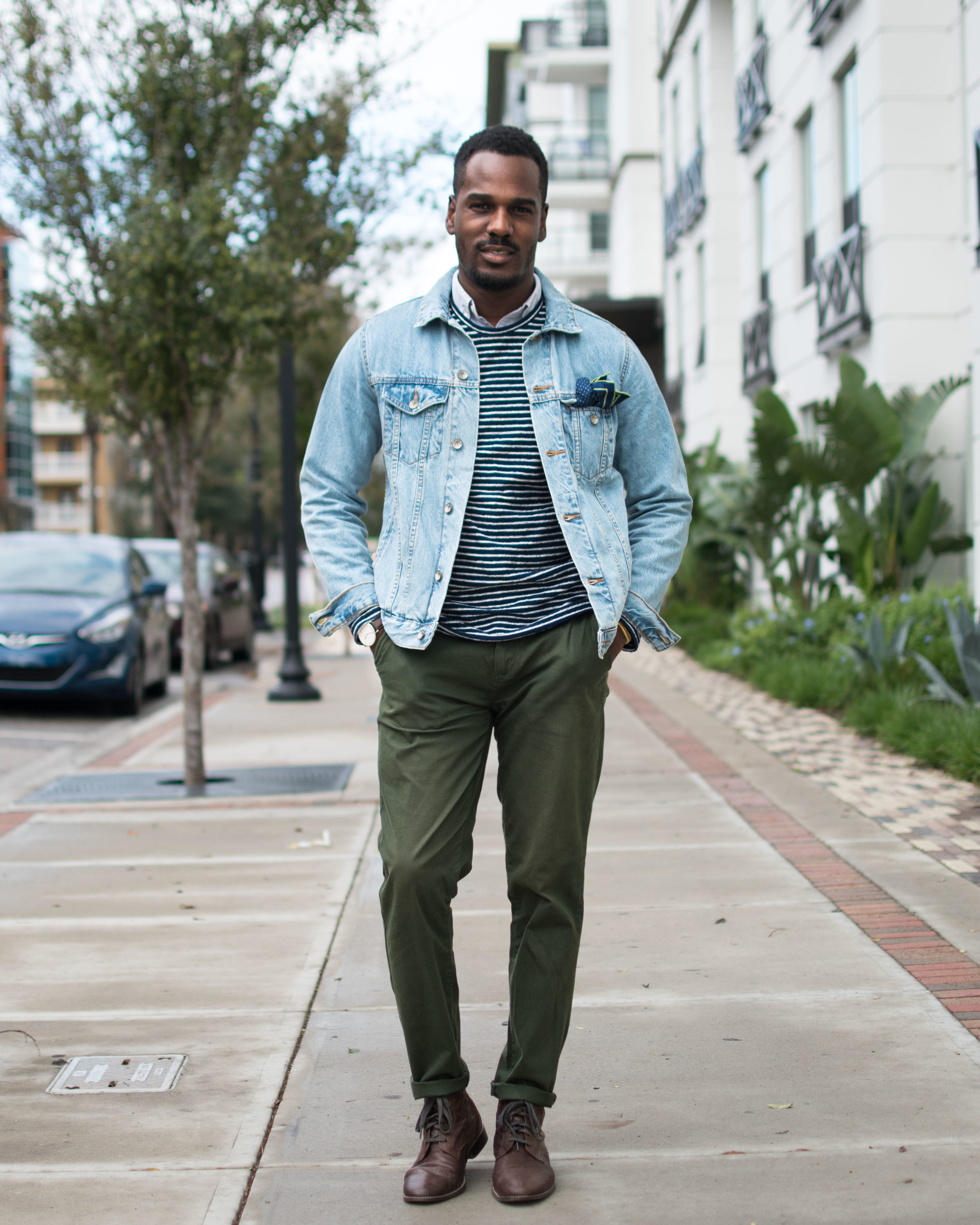 Cotton is always up for the job when it comes to creating looks that can suit any occasion. This holiday season throw on a versatile denim jacket to instantly add bold detail to an otherwise traditional outfit.⠀ #GregsStyleGuide @DiscoverCotton#ShopCotton