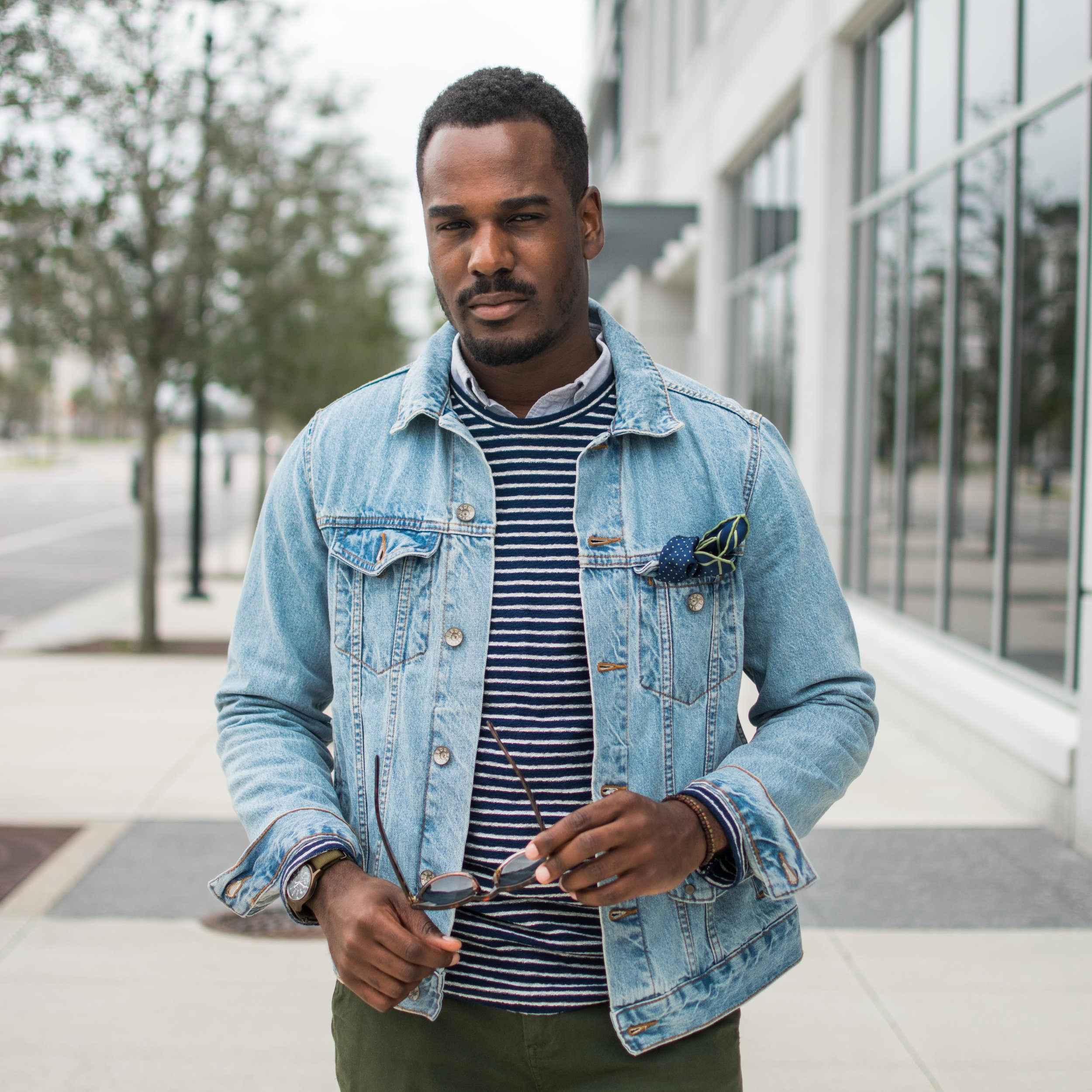 mens denim jacket with sweater style