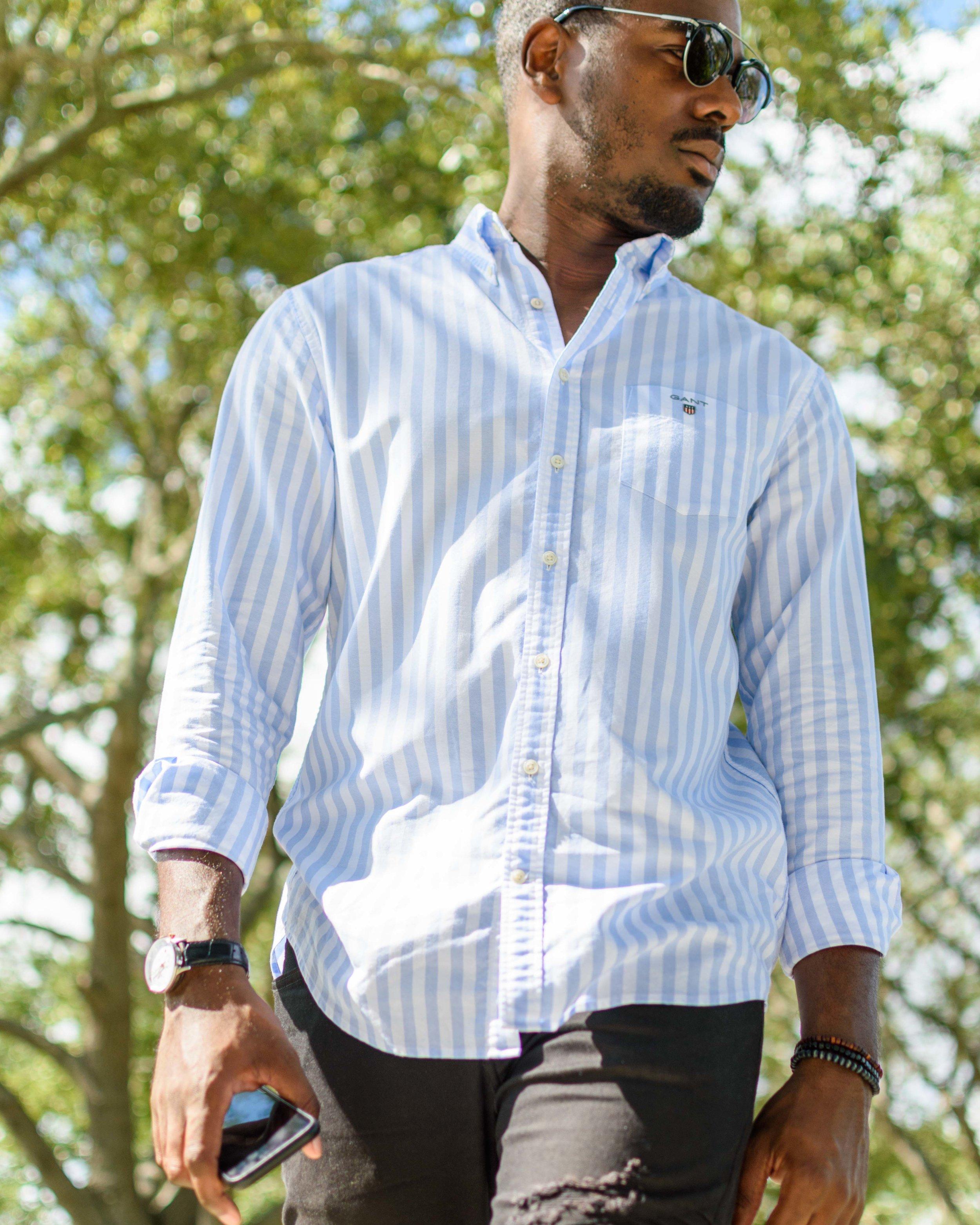 gant oxford banker shirt capri blue greg mcgregorson