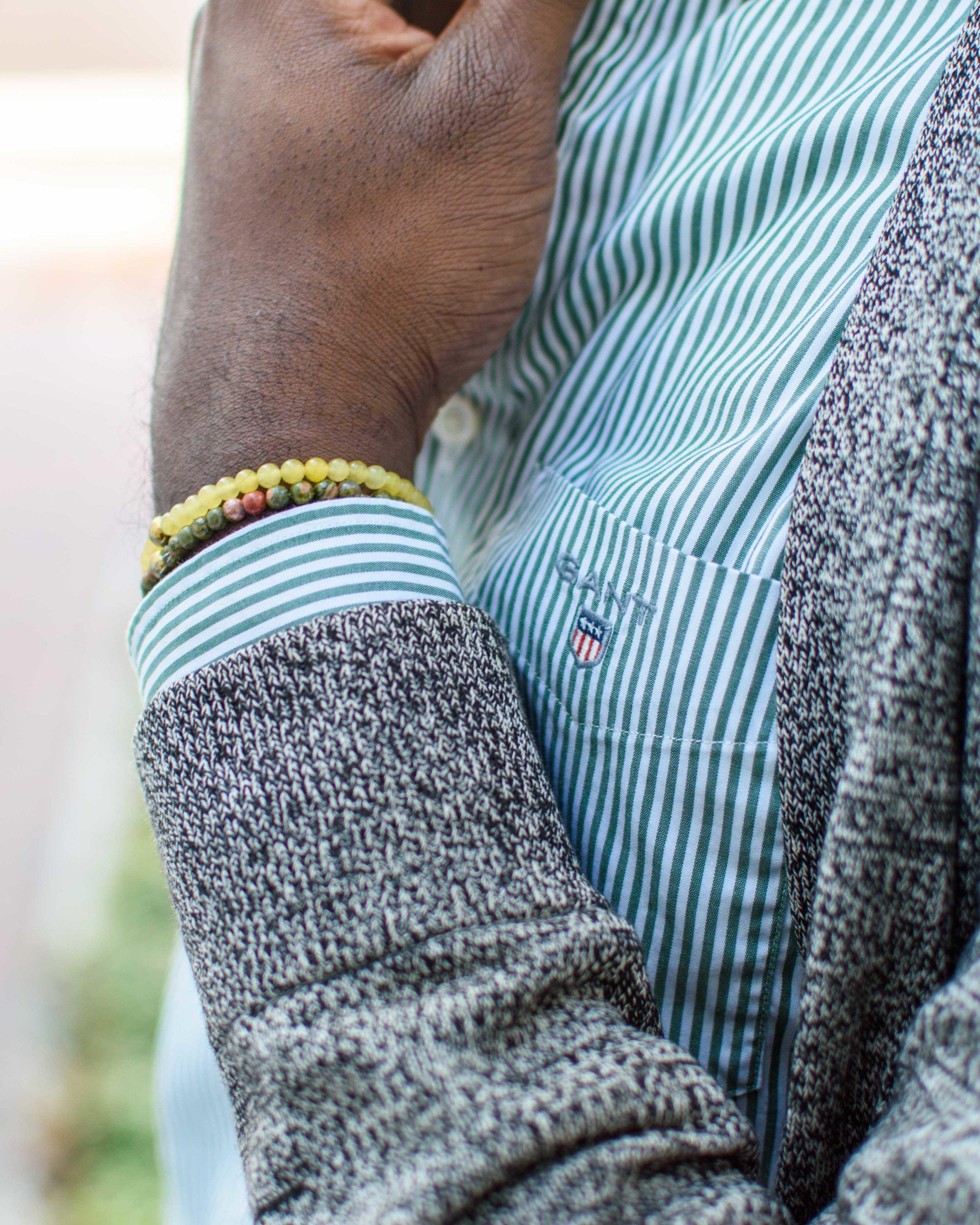 gant slim fit banker striped shirt pine green details.JPG