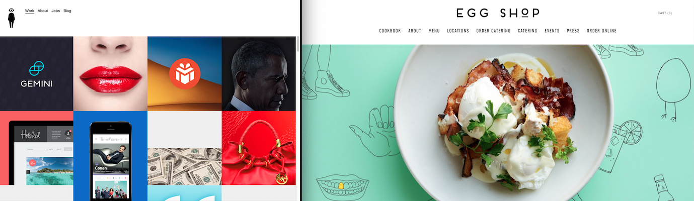 2 examples of beautiful squarespace websites