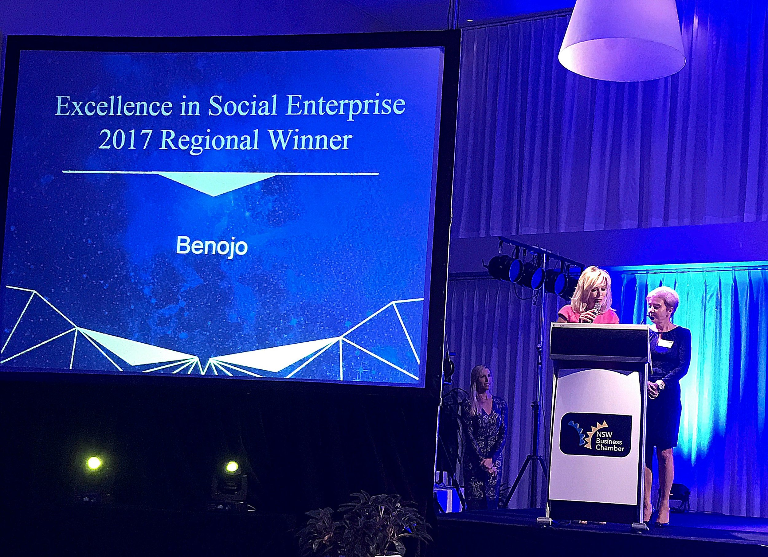 Anne from Benojo accepting our award from Kerri-Anne Kennerly
