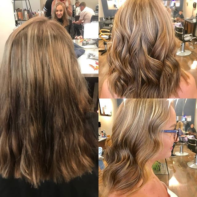 Who loves color corrections? They can be stressful and challenging. But when the end result looks like this, it's worth all that hard work! Erin did highlights all over, added 6N colorance between the foils and a shadow root to balance things out. Just a little patience and this turned out stunning! #boisehairstylist #colorcorrection #goingblonde #schwarzkopf #blondeme #goldwellapprovedus @chewycharmr